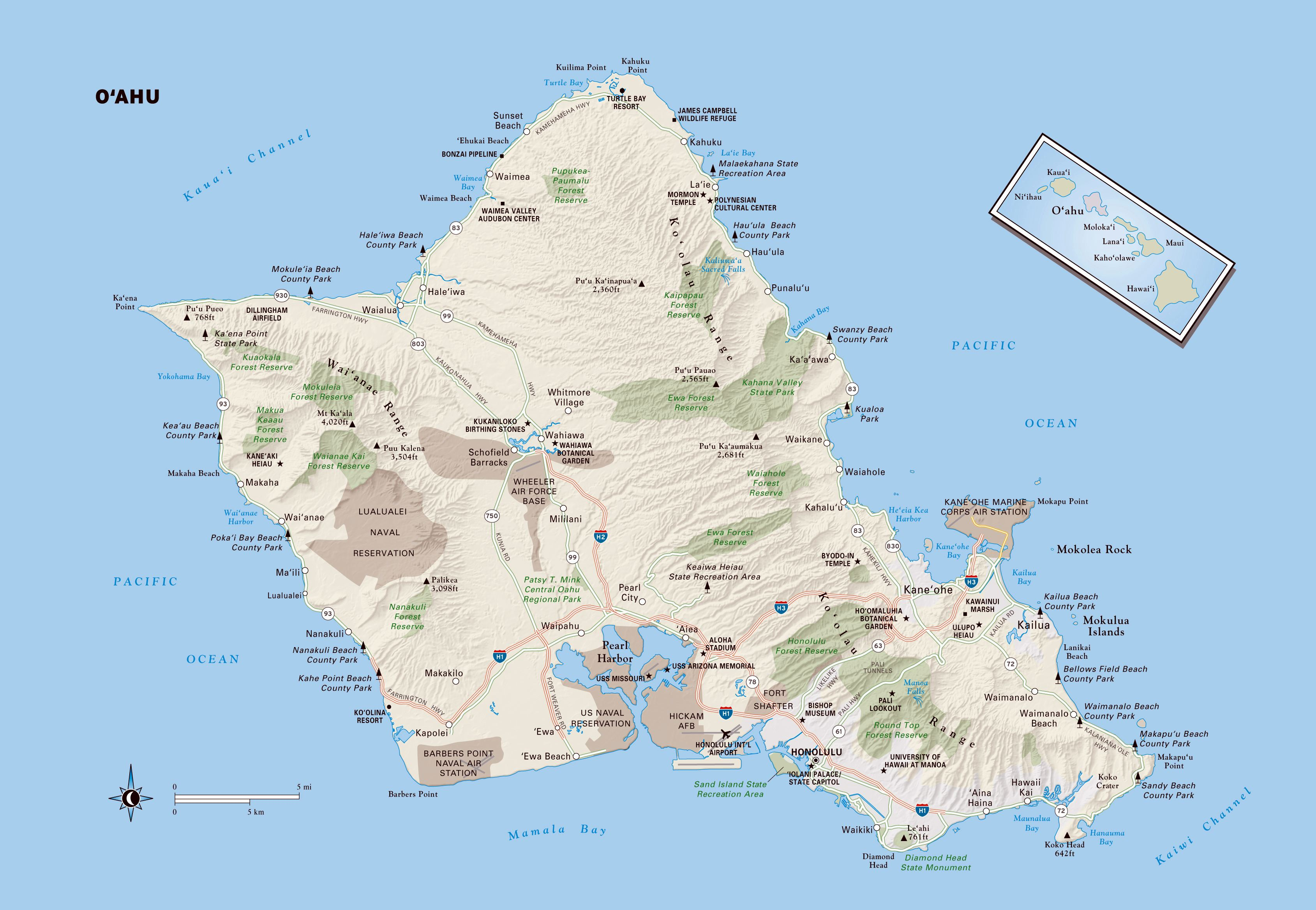 image relating to Oahu Map Printable identified as Higher Oahu Island Maps for Absolutely free Down load and Print Large