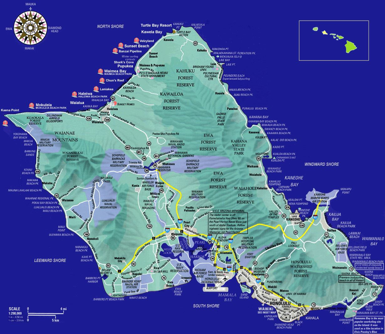 Island Of Oahu Map Large Oahu Island Maps for Free Download and Print | High