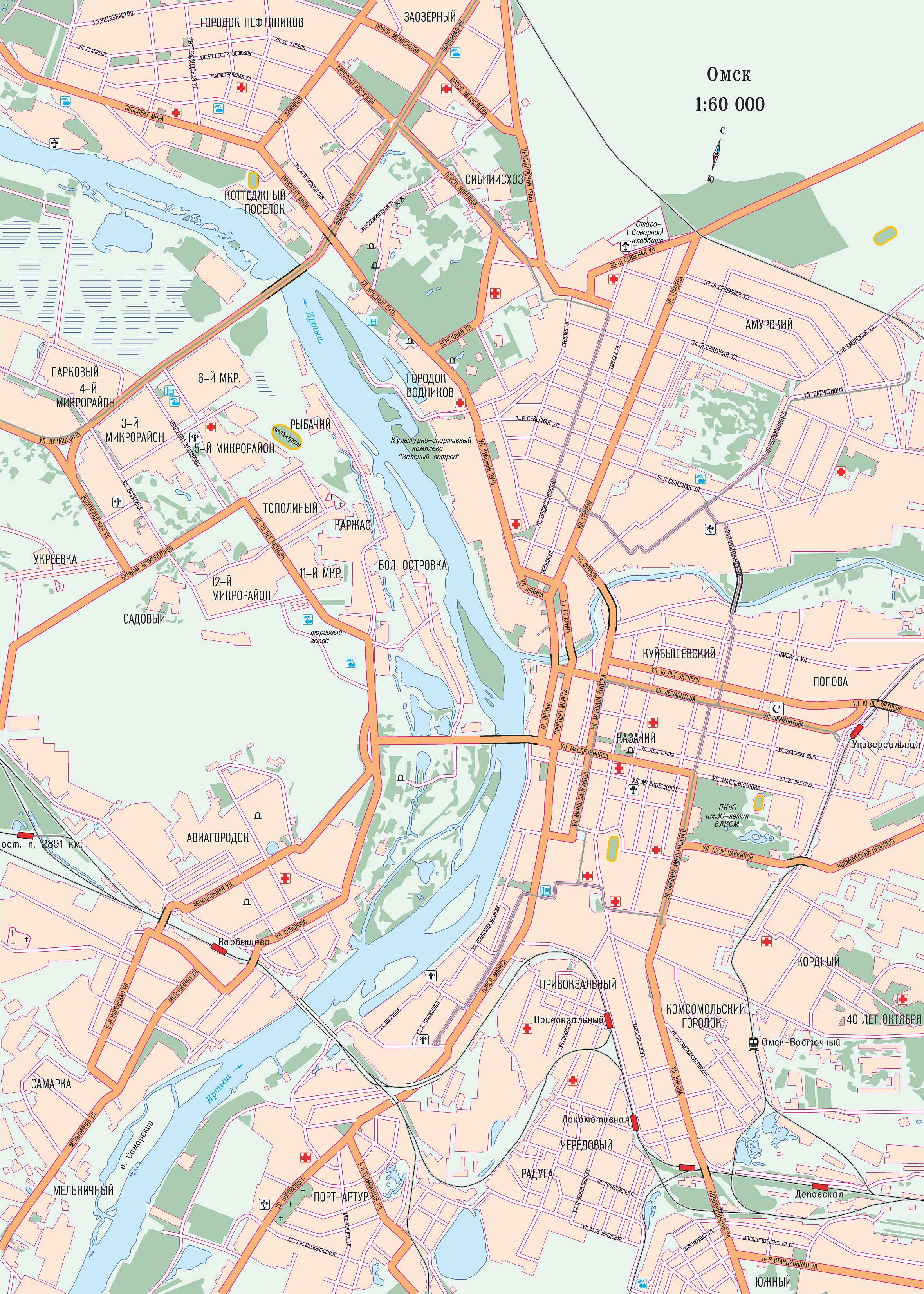 Схема улиц и домов в омске