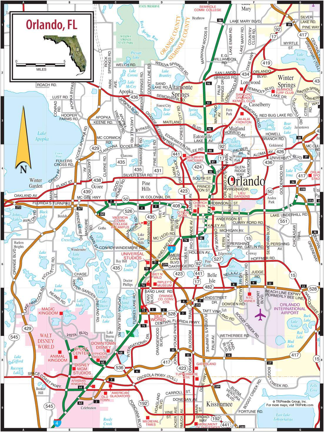 Orlando Tourist Map Pdf Large Orlando Maps for Free Download and Print | High Resolution