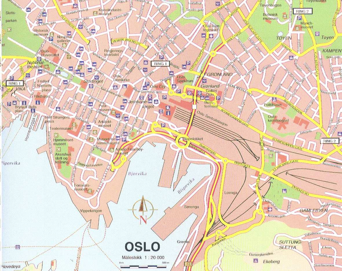 oslo karta Large Oslo Maps for Free Download and Print | High Resolution and  oslo karta