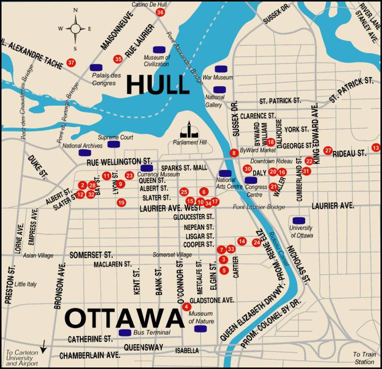 Large Ottawa Maps for Free Download – Tourist Attractions Map In Canada