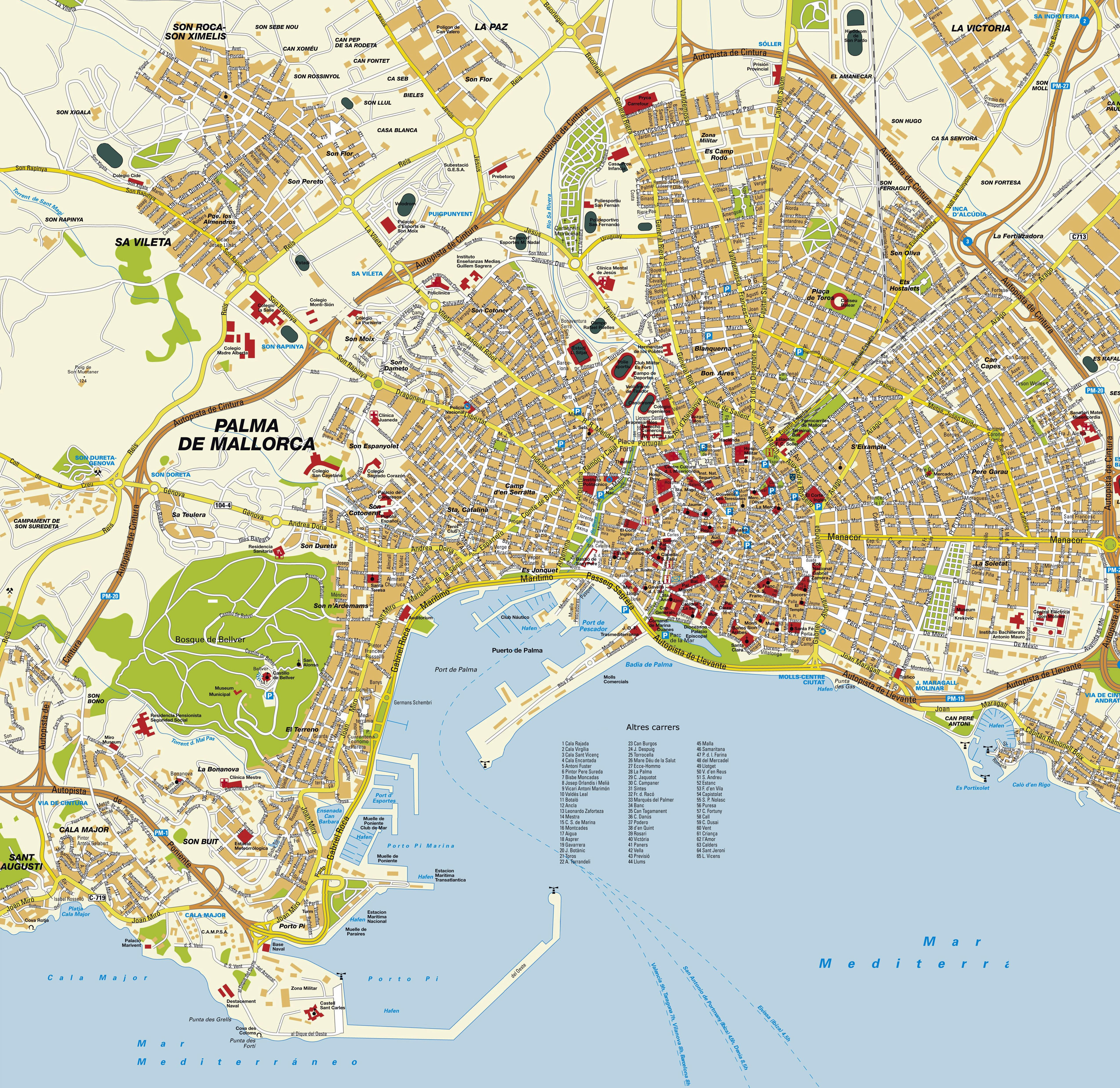 palma de maiorca mapa Large Palma de Mallorca Maps for Free Download and Print | High  palma de maiorca mapa