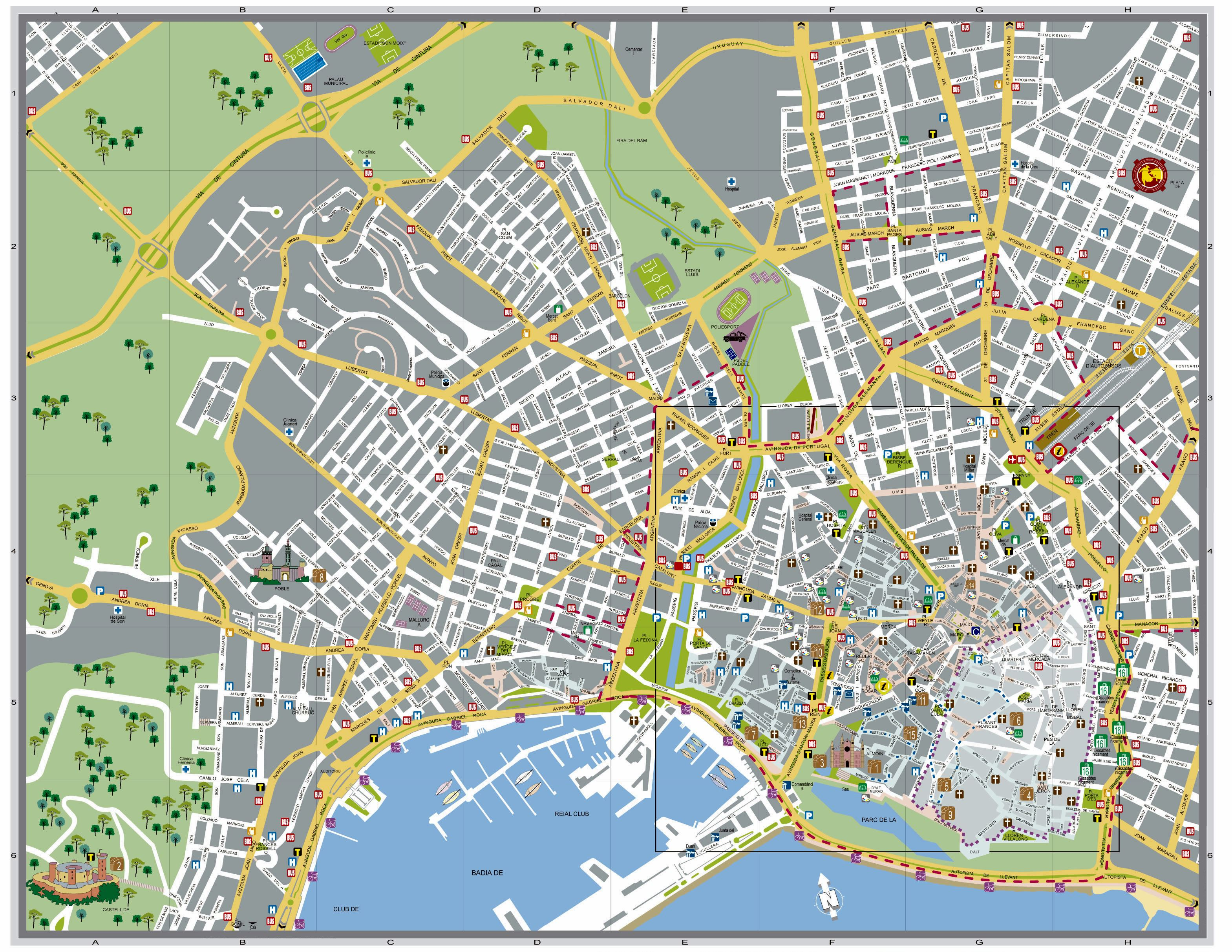 Large Palma de Mallorca Maps for Free Download and Print High