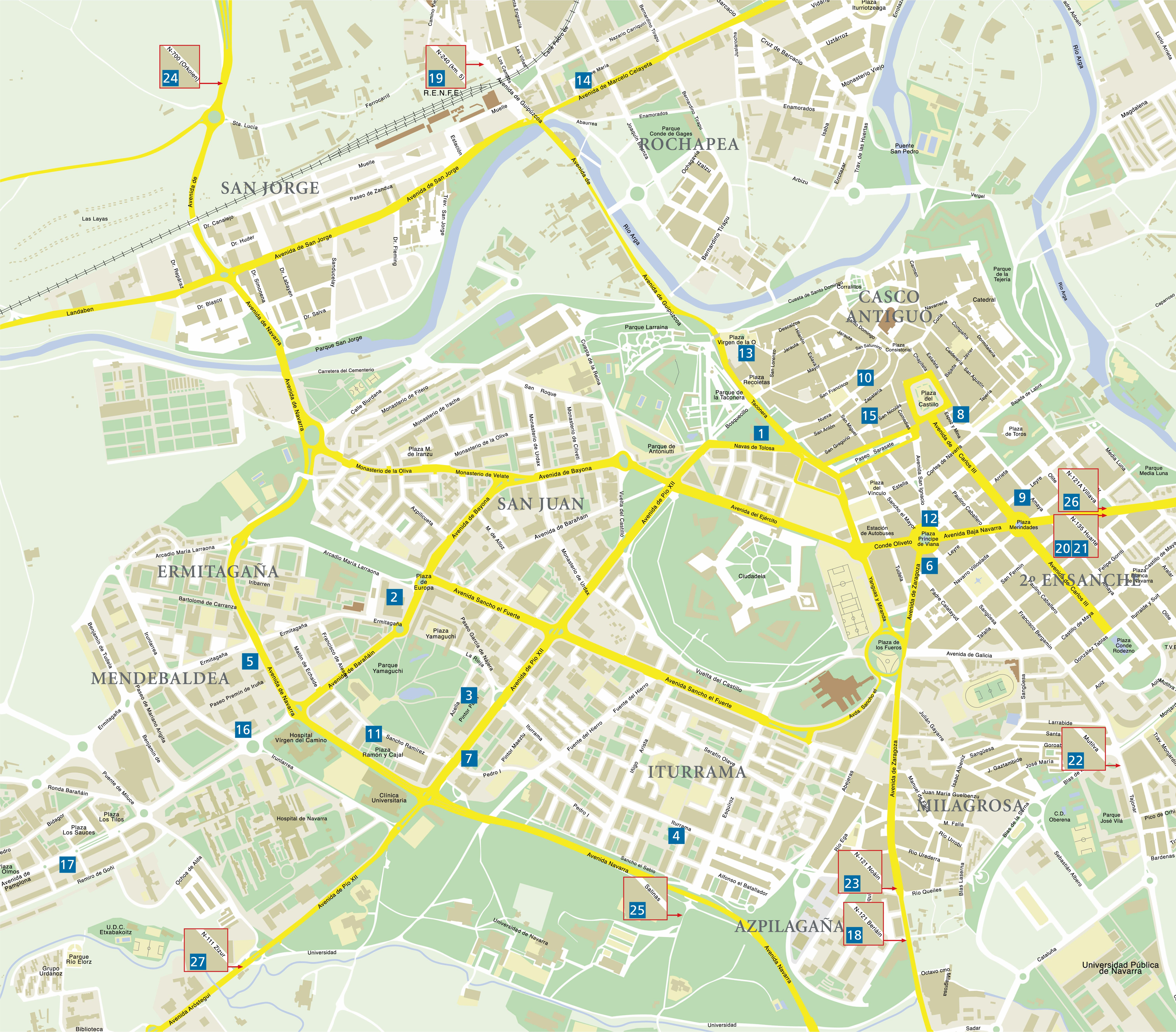 pamplona mapa Pamplona   plan de la ciudad   Mapas imprimidos de Pamplona  pamplona mapa
