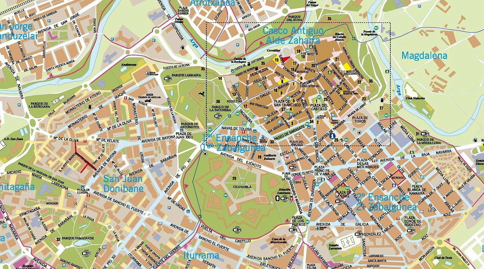 Map Of Spain Pamplona.Large Pamplona Maps For Free Download And Print High