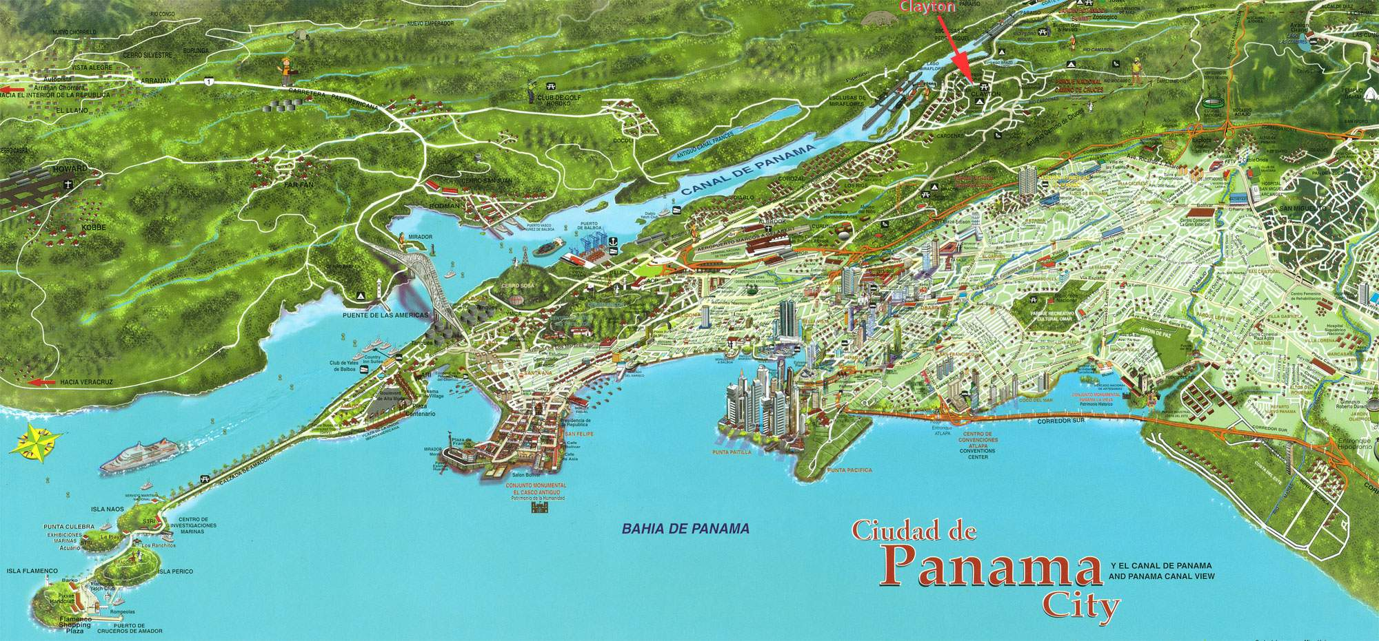 Large Panama Maps for Free Download – Panama City Tourist Attractions Map