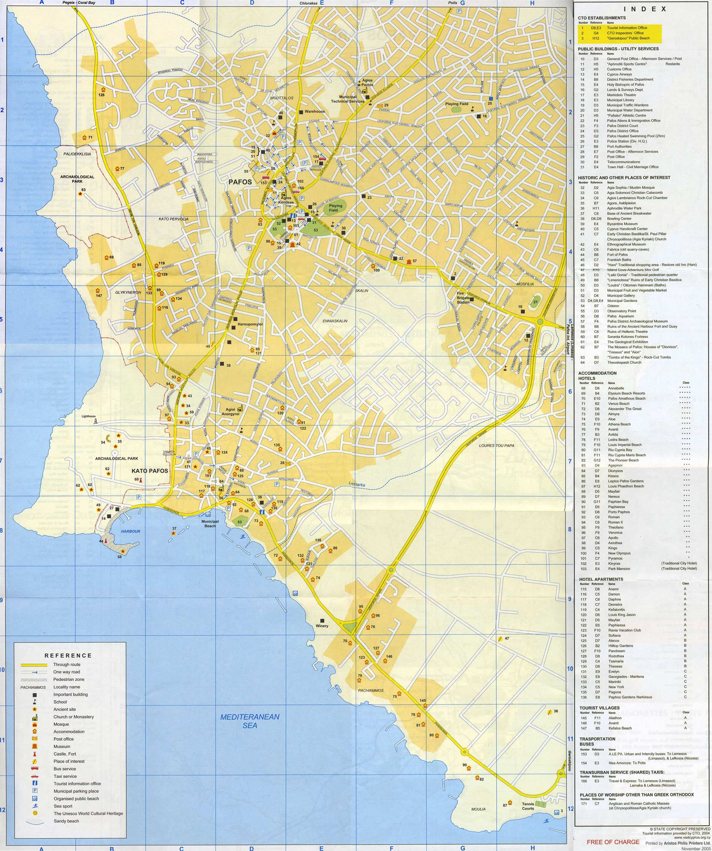 Large Paphos Maps for Free Download and Print HighResolution and