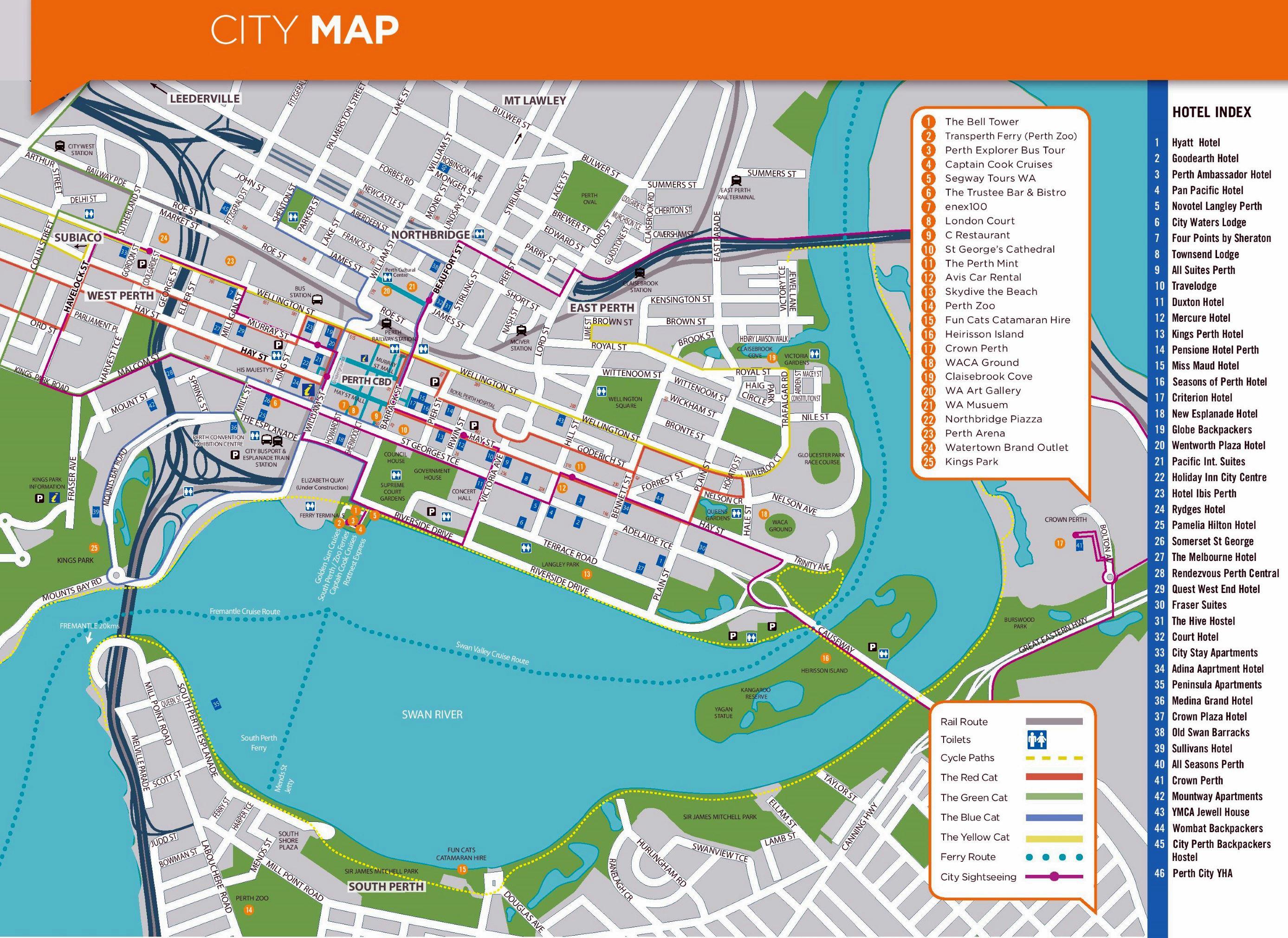 Karte von Perth Flughafen und Umgebung