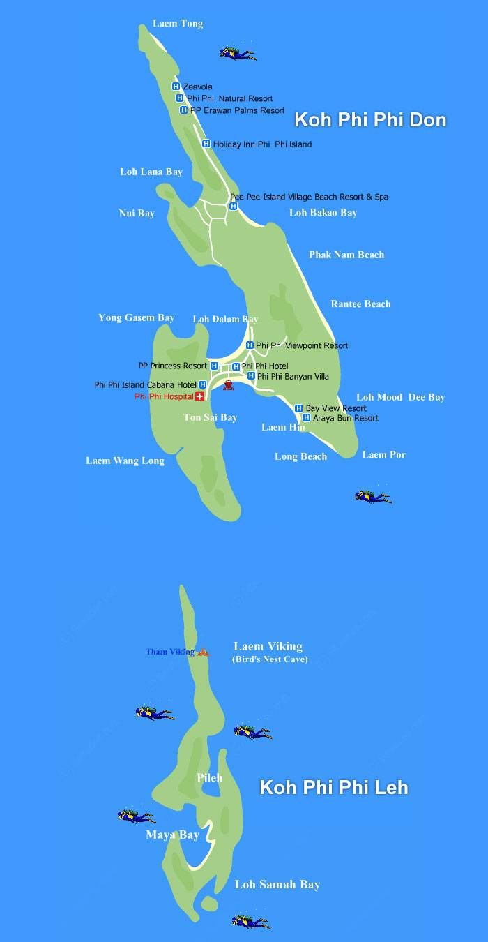 Pipi Island Map Large Phi Phi Islands Maps for Free Download and Print | High