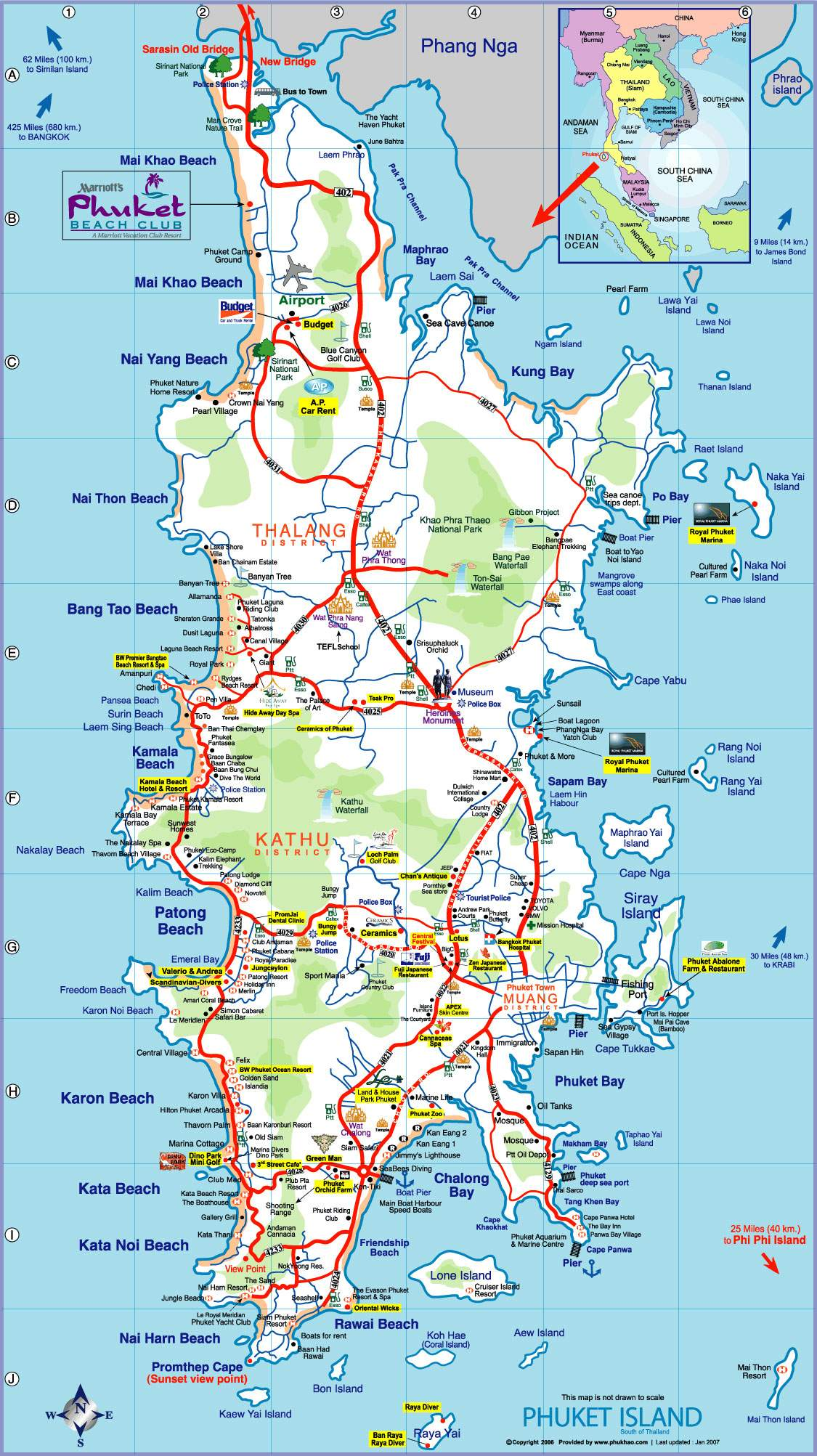 Large Phuket Maps for Free Download – Thailand Tourist Attractions Map