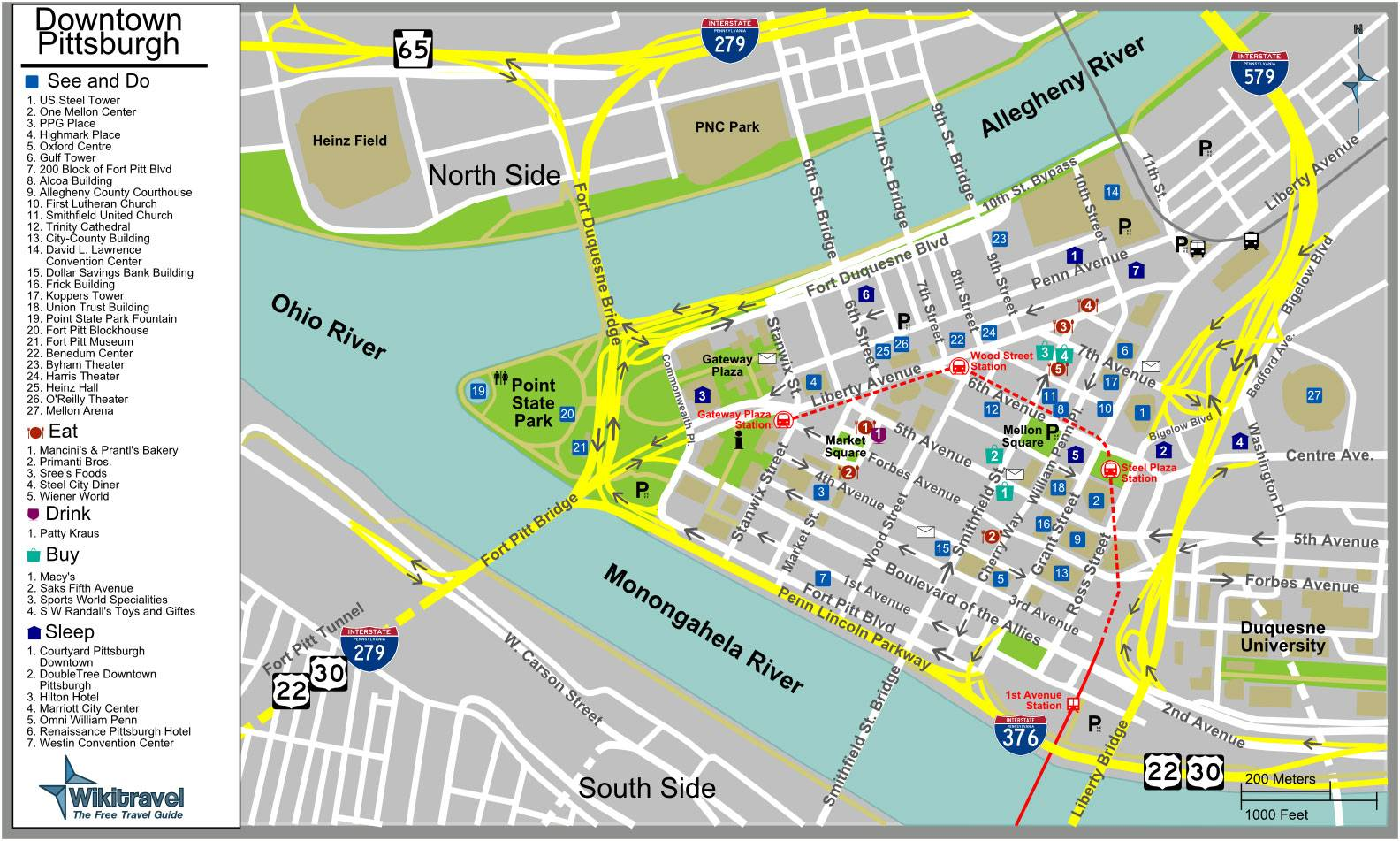 Downtown Pittsburgh Map Large Pittsburgh Maps for Free Download and Print | High  Downtown Pittsburgh Map