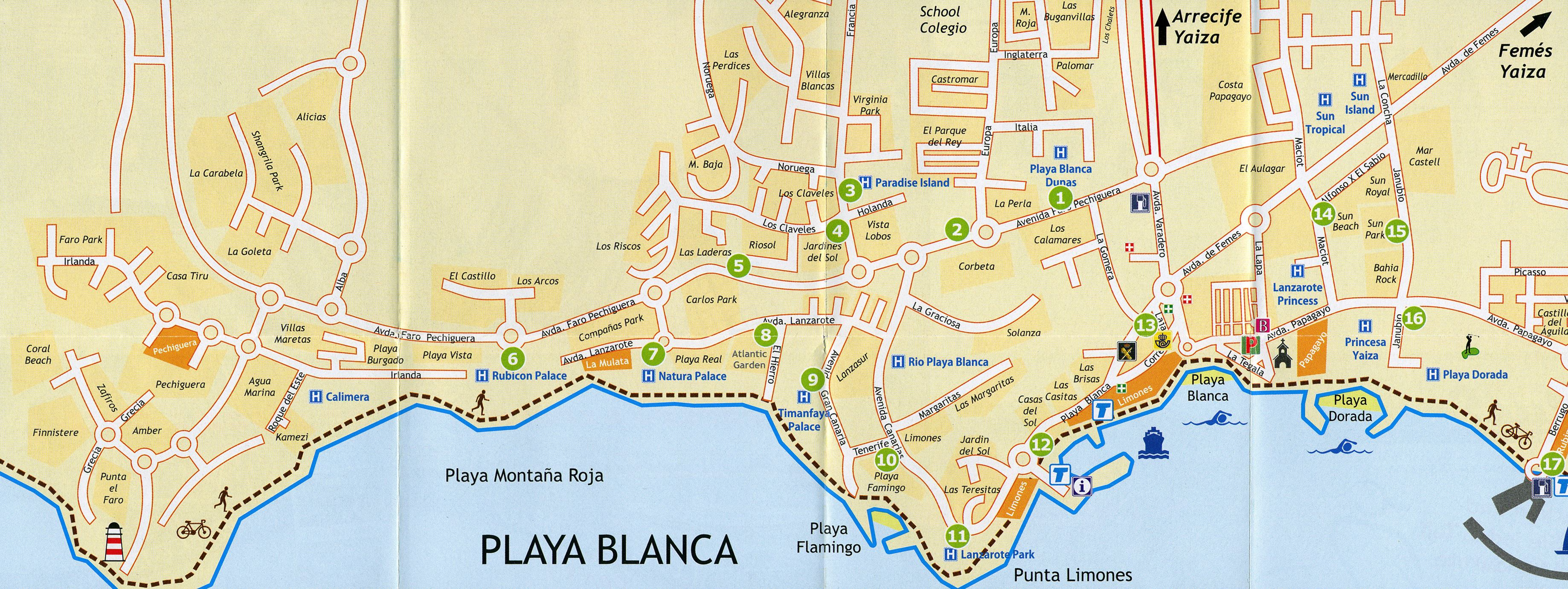 Map Of Spain Lanzarote.Large Playa Blanca Maps For Free Download And Print High