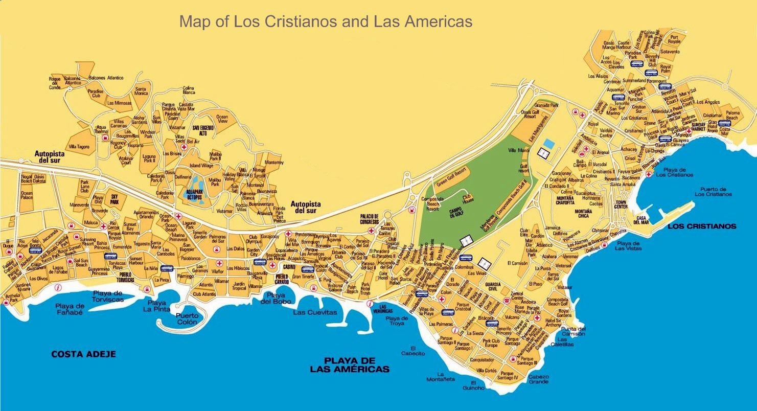 Large Playa De Las Americas Maps For Free Download And Print