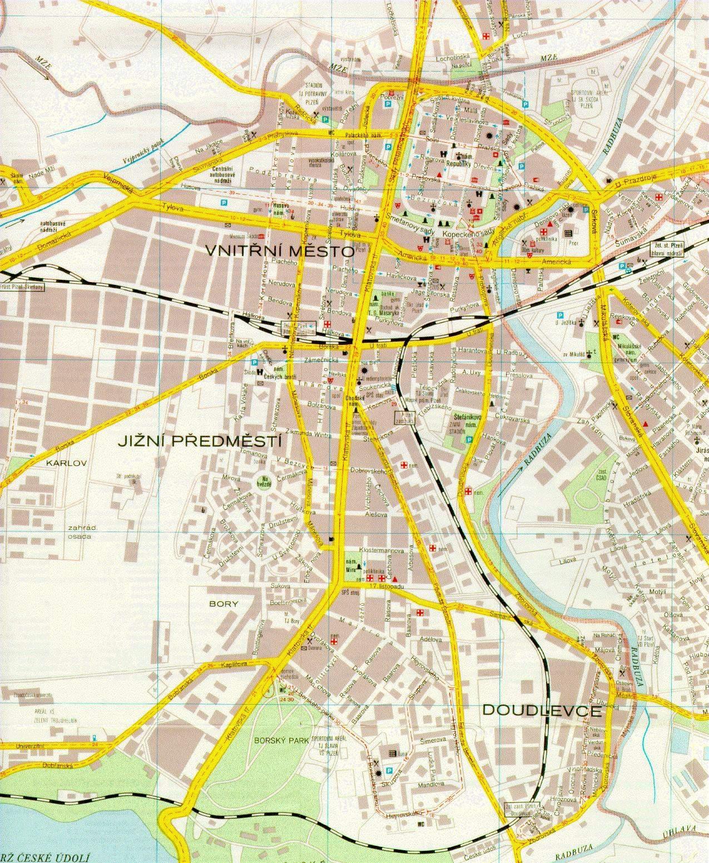 Stadtplan Von Pilsen Detaillierte Gedruckte Karten Von