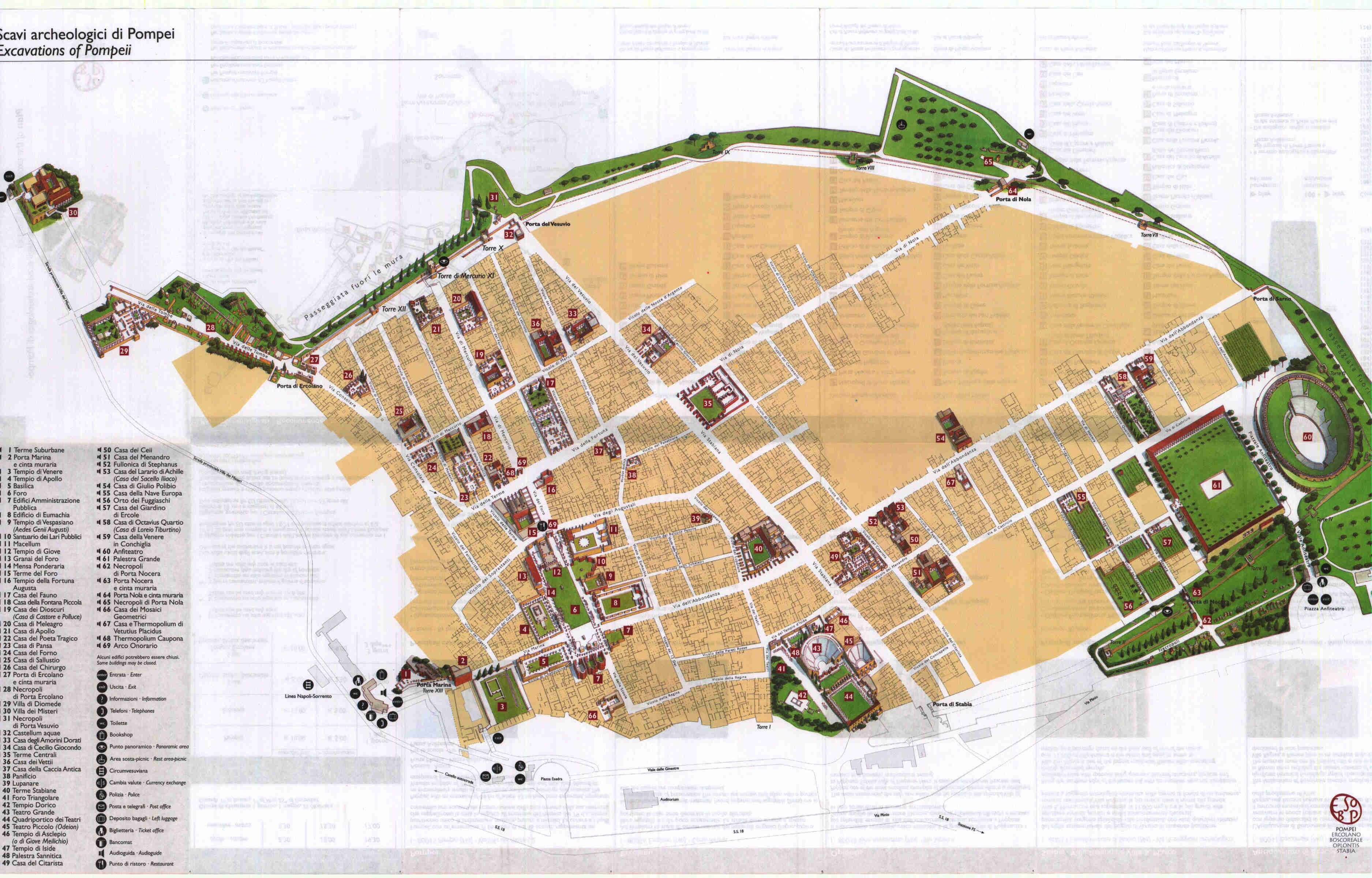 Free Map Of Italy.Large Pompei Maps For Free Download High Resolution And Detailed