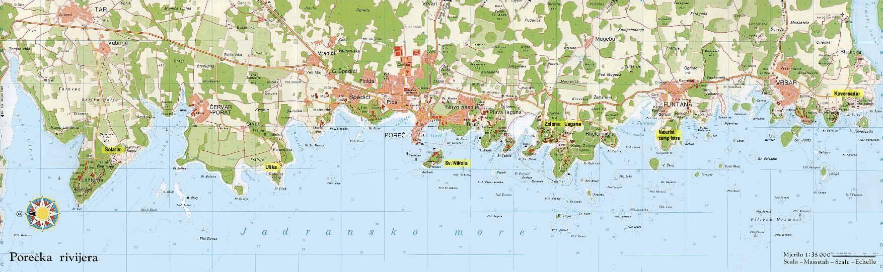 Istrien Karte Zum Ausdrucken.Stadtplan Von Porec Detaillierte Gedruckte Karten Von