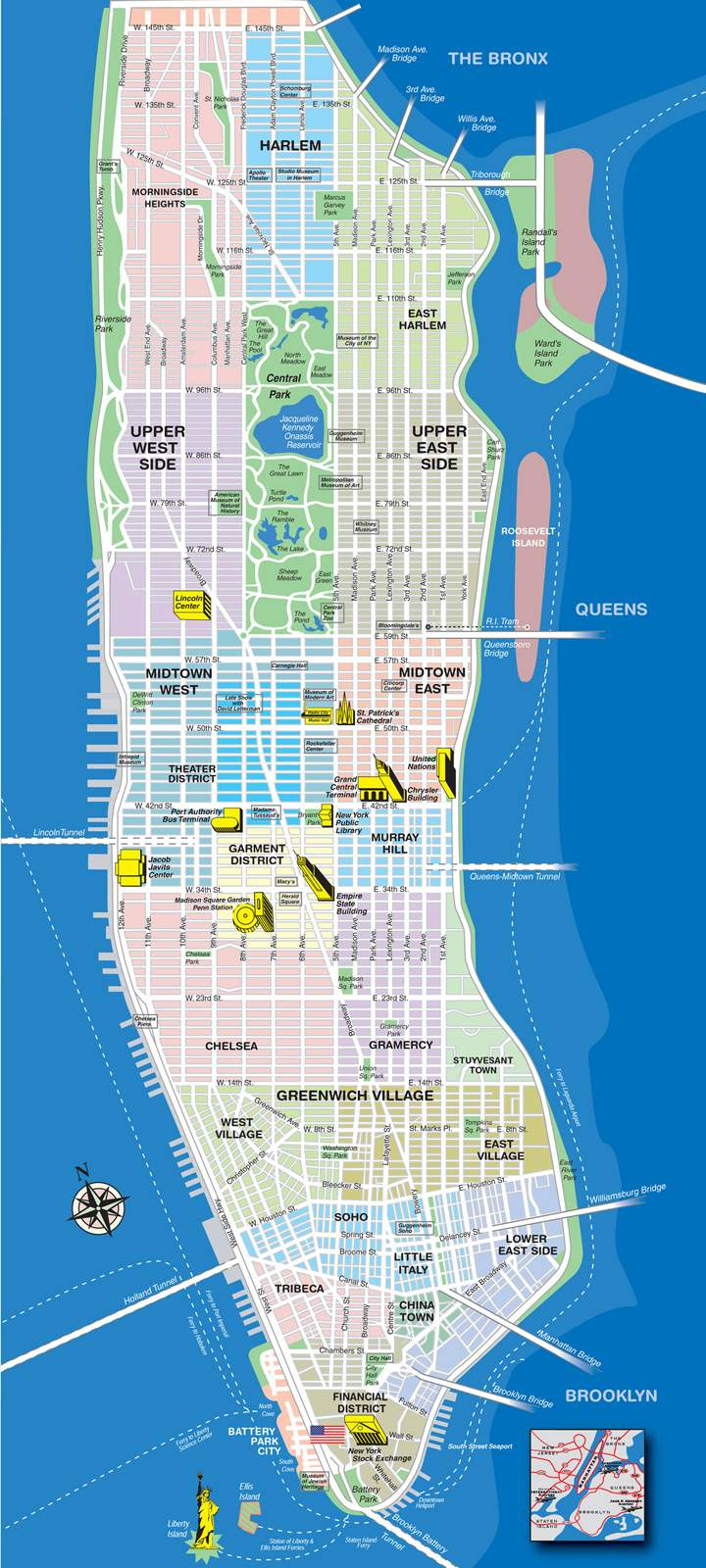 Manhattan Island Map Large Manhattan Maps for Free Download and Print | High Resolution