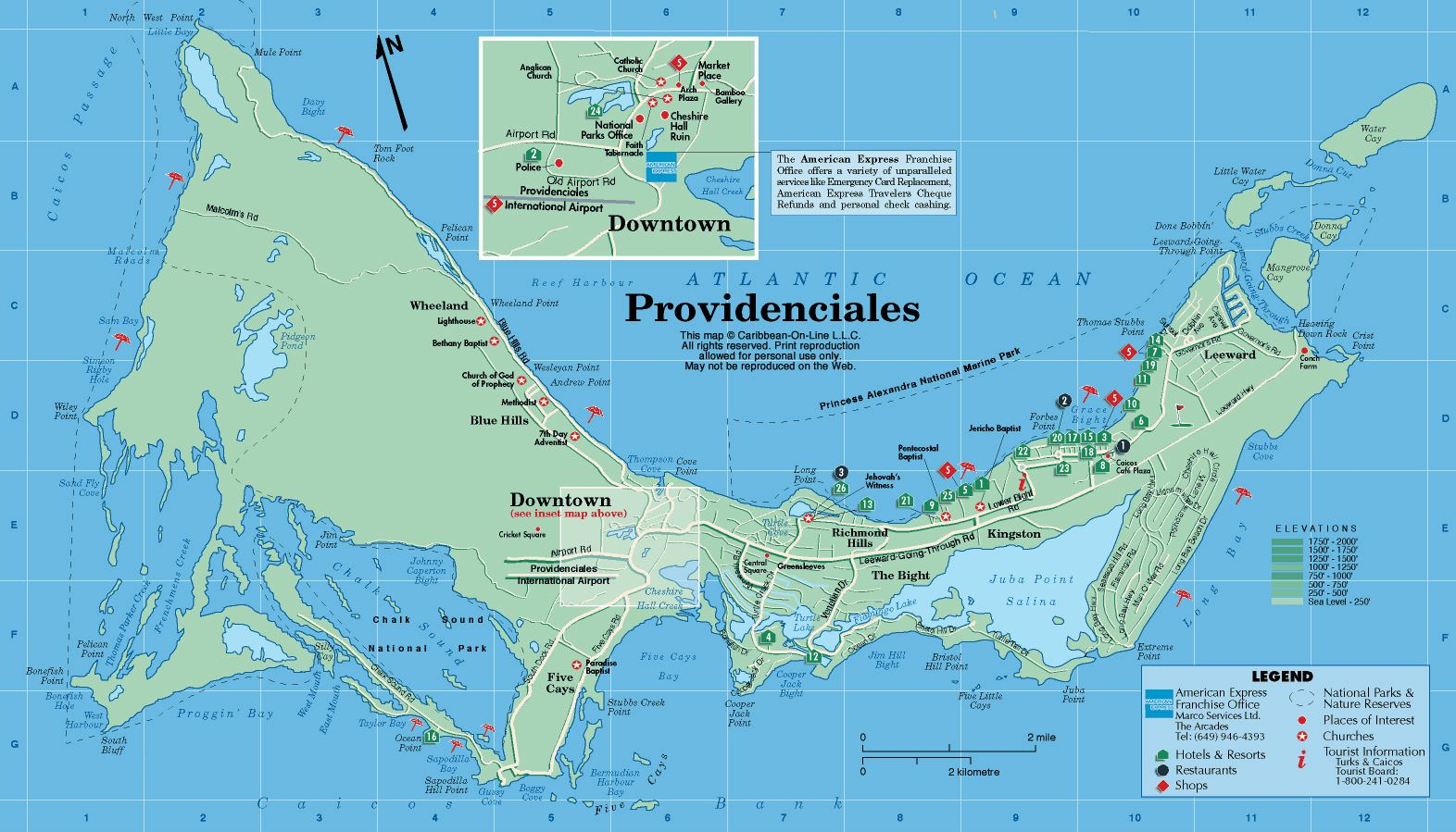 Large Map Of Providenciales Island 1