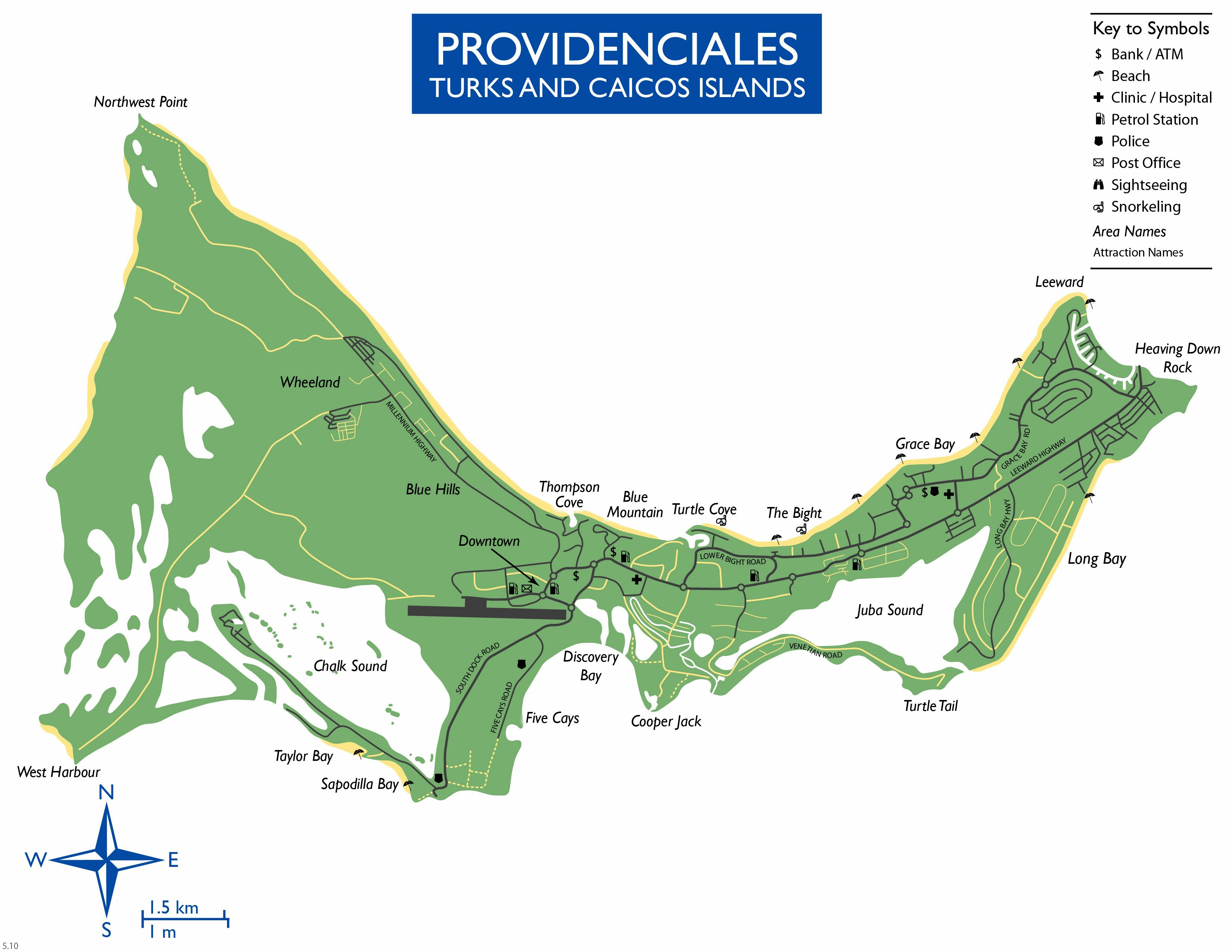 Large Providenciales Island Maps for Free Download and Print High