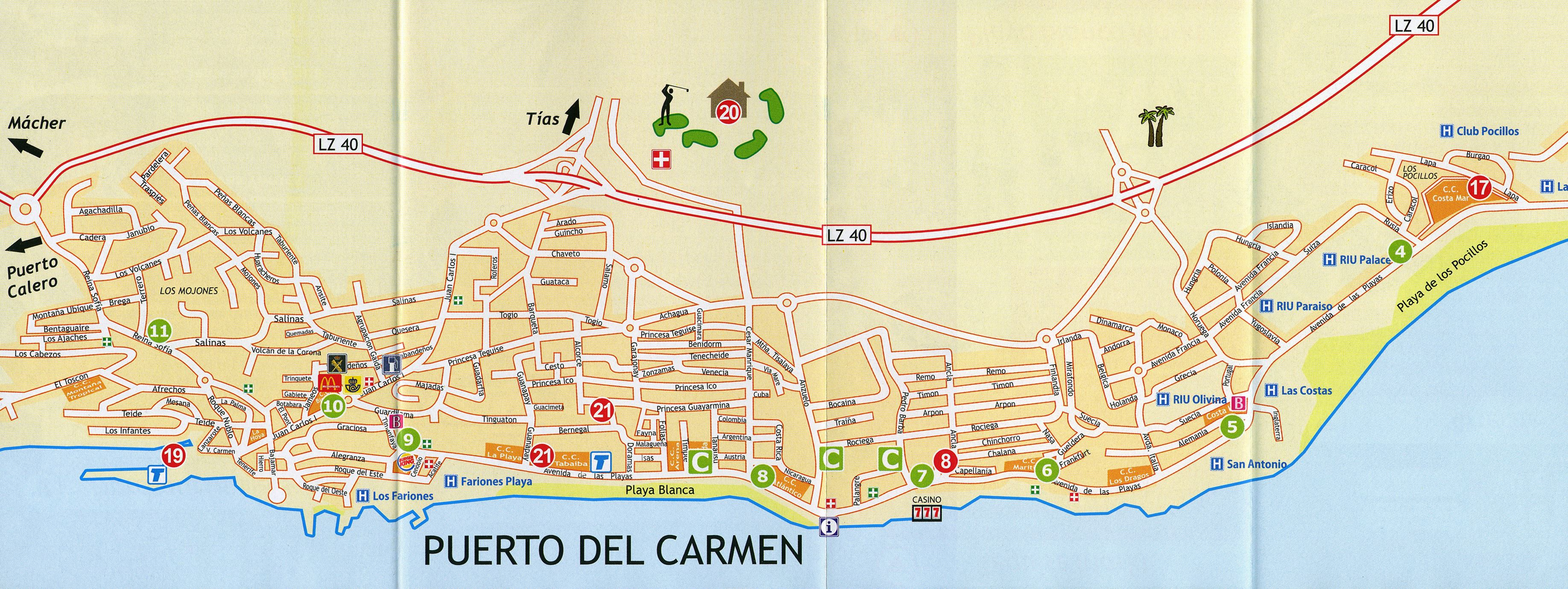 Puerto Del Carmen Map Large Puerto del Carmen Maps for Free Download and Print | High