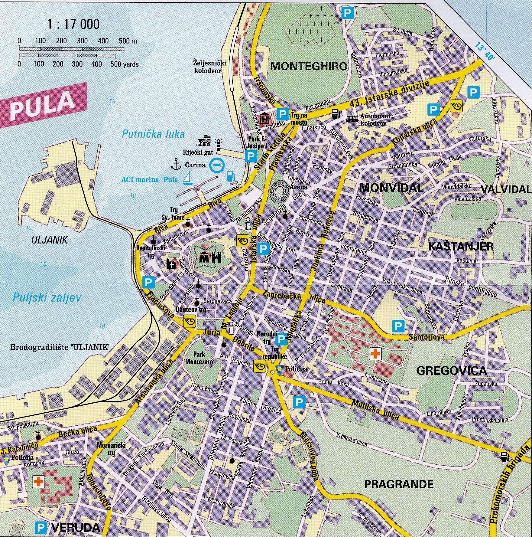 pula karte Stadtplan von Pula | Detaillierte gedruckte Karten von Pula  pula karte