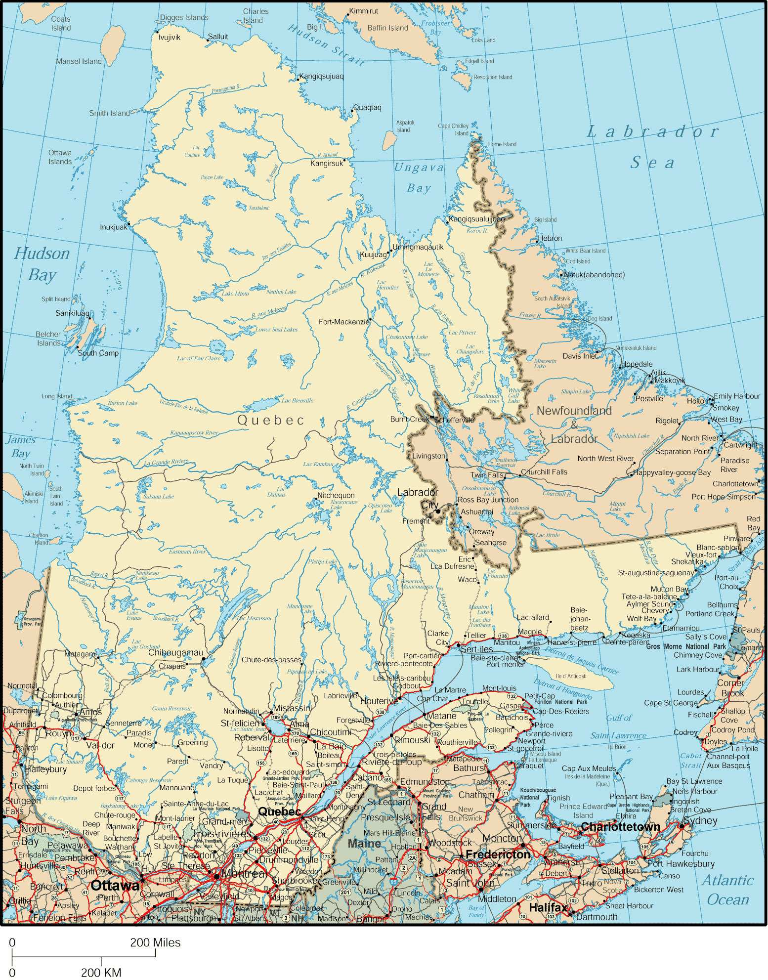 Canada Maps Printable Maps Of Canada For Download - Map of quebec canada