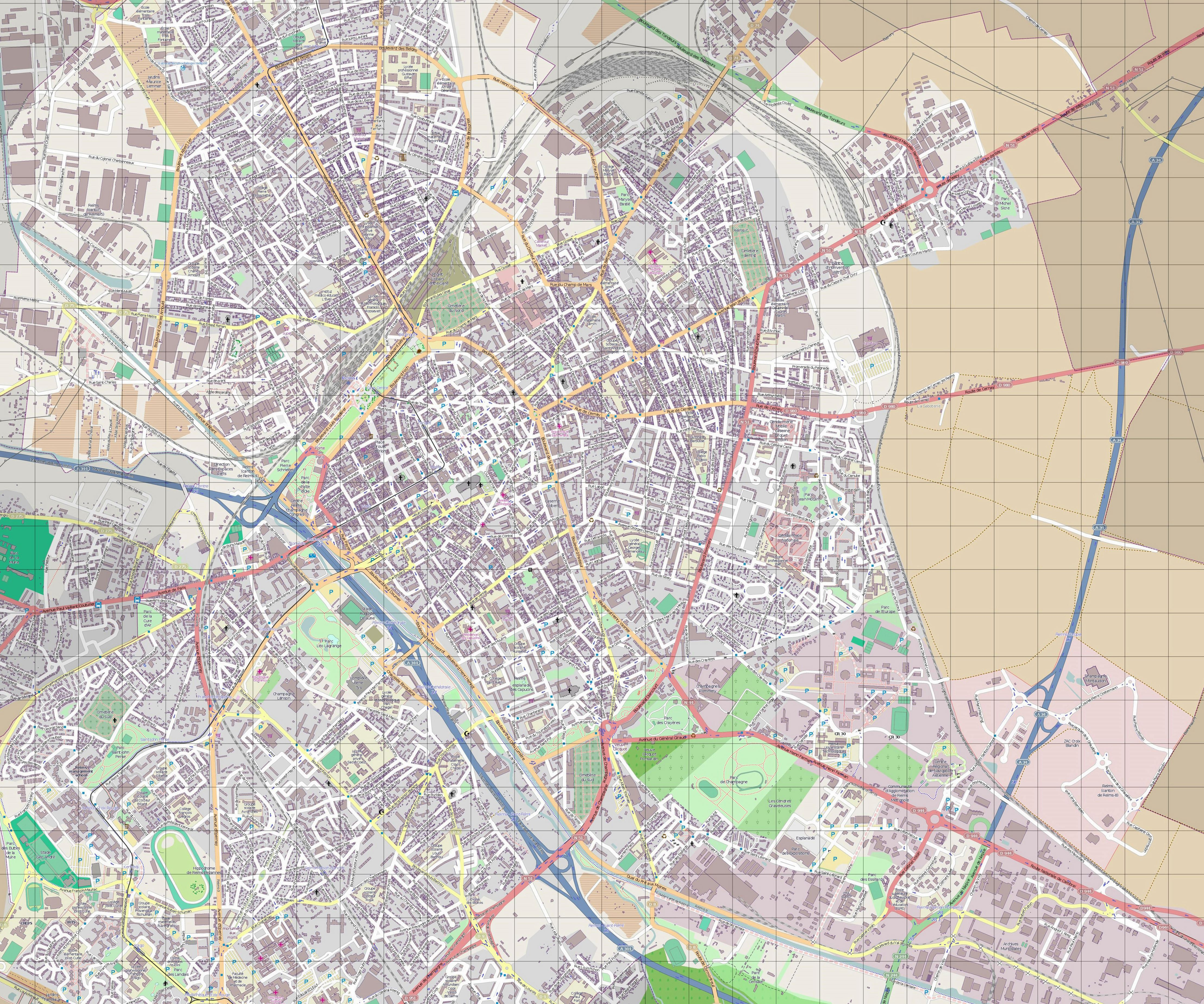Large Reims Maps for Free Download and Print | High-Resolution and ...