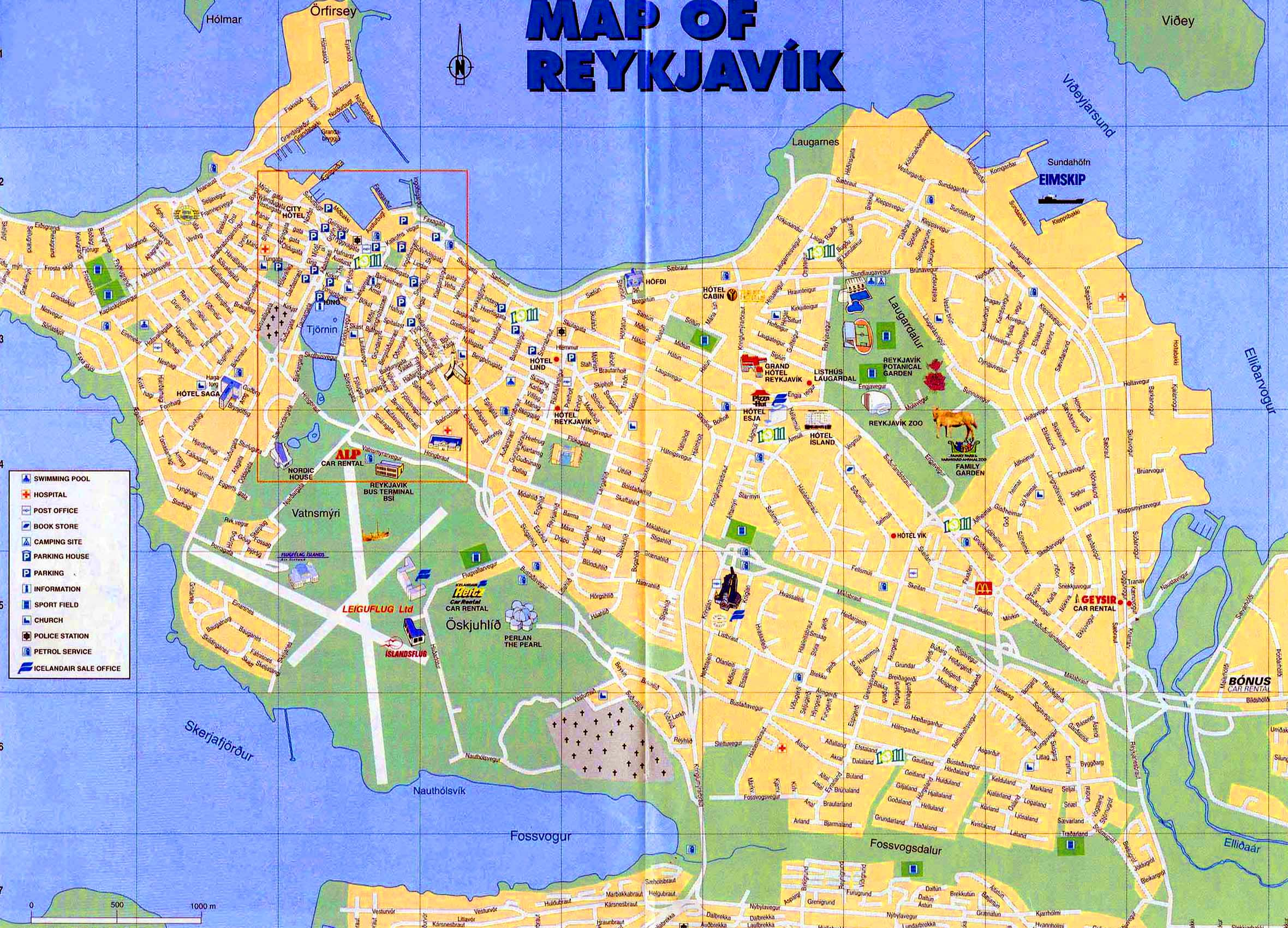 Large Reykjavik Maps for Free Download – Iceland Tourist Attractions Map