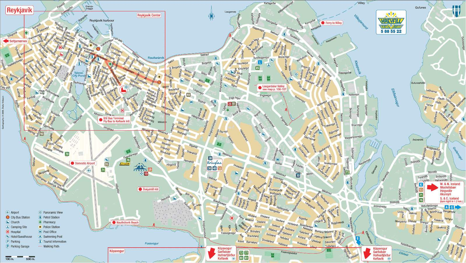 Detailed Map Of Reykjavik 2