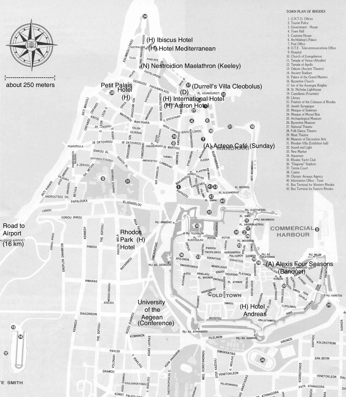 Rhodos Karte Flughafen.Stadtplan Von Rhodos Detaillierte Gedruckte Karten Von Rhodos