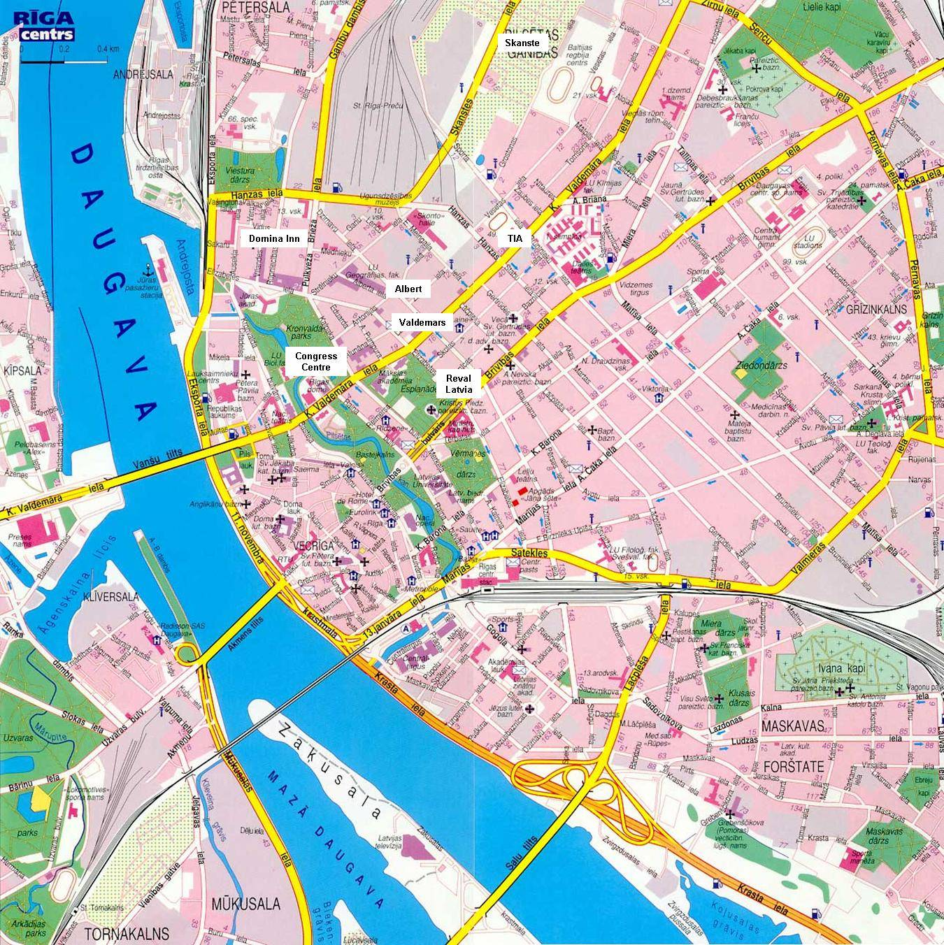 riga karta Large Riga Maps for Free Download and Print | High Resolution and  riga karta