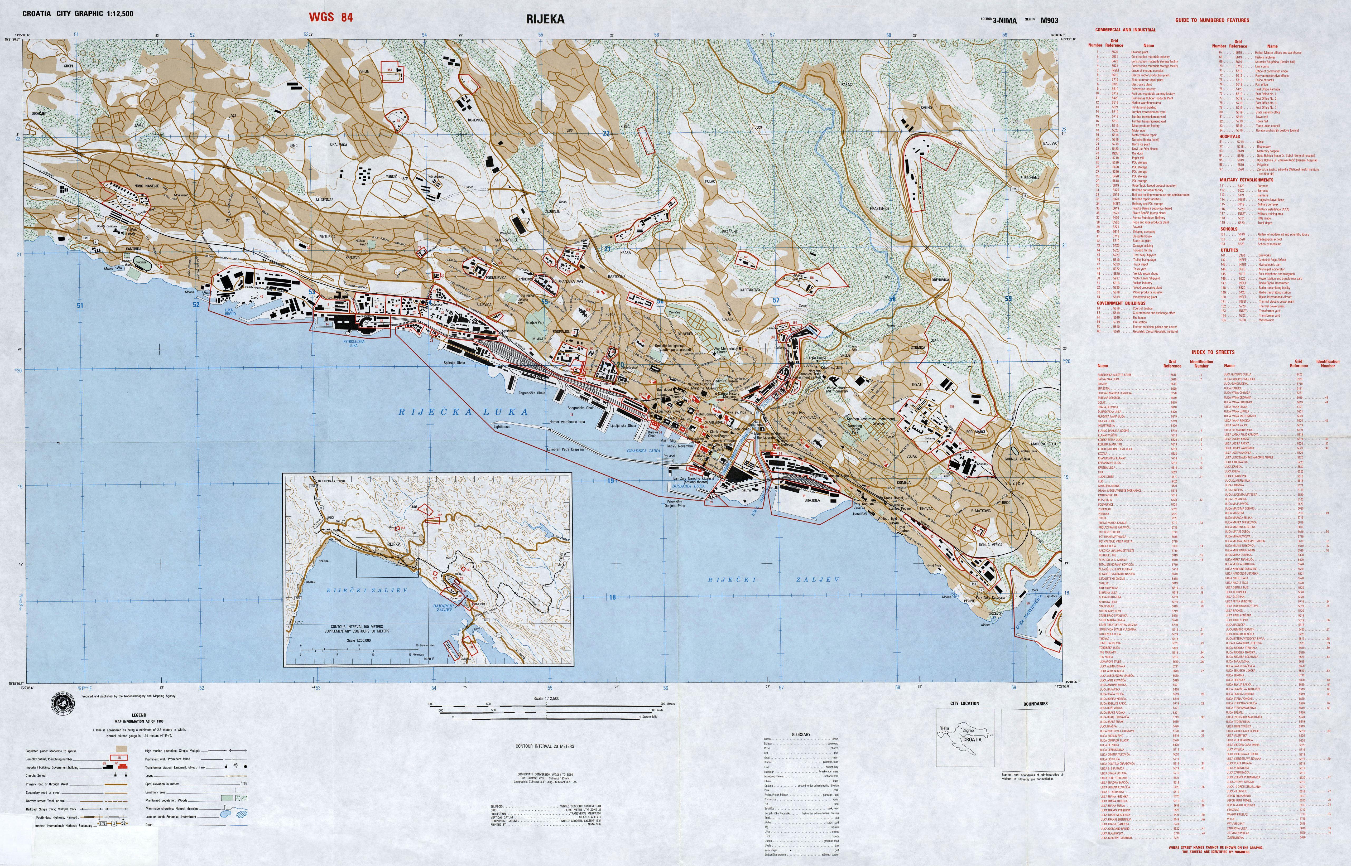 Istrien Karte Zum Ausdrucken.Stadtplan Von Rijeka Detaillierte Gedruckte Karten Von