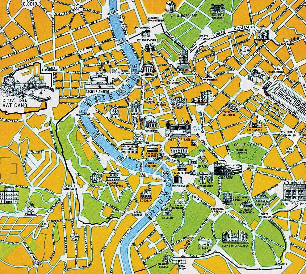 Large Rome Maps for Free Download – Tourist Map of Rome
