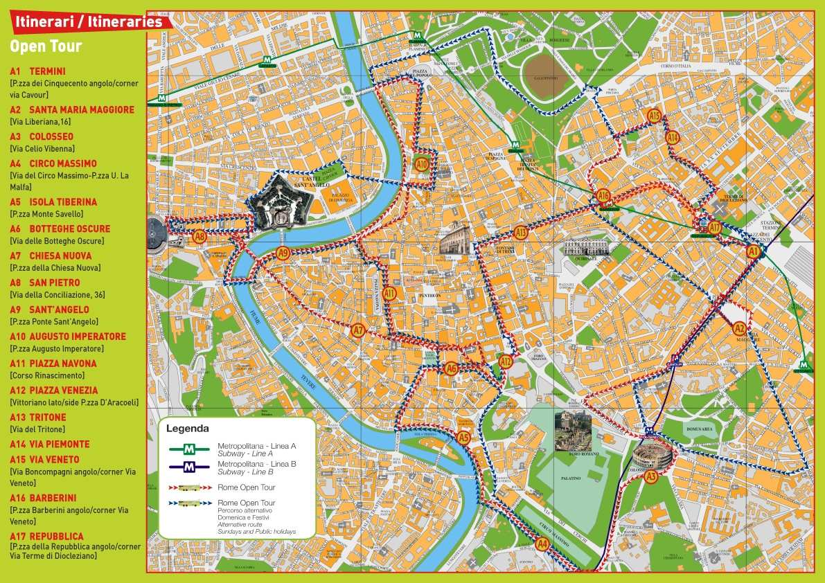 Large Rome Maps for Free Download – Rome Tourist Attractions Map