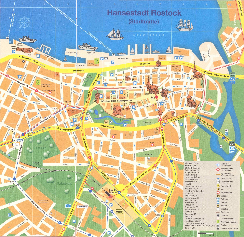 rostock karta Rostock Tram Map for Free Download | Map of Rostock Tramway Network rostock karta