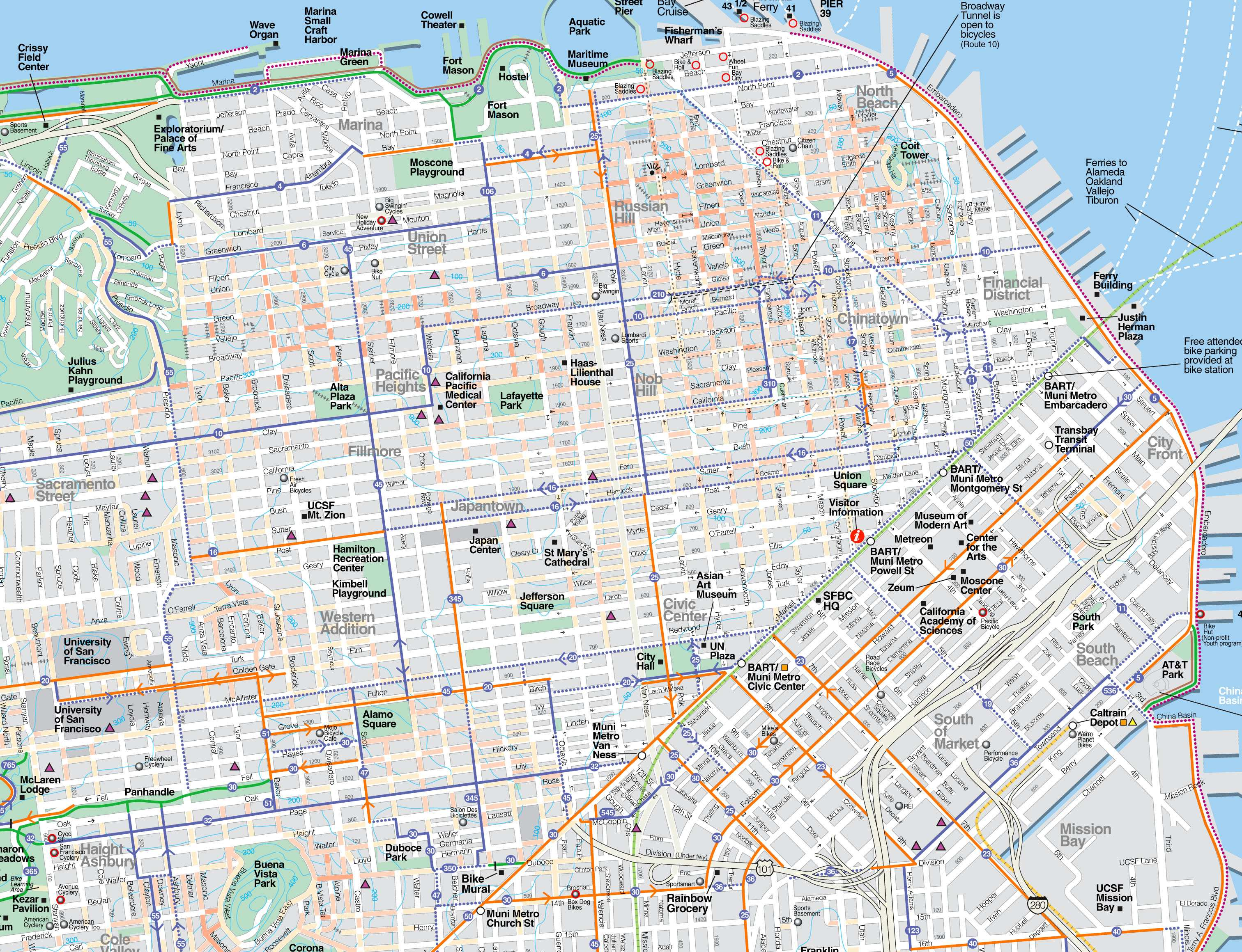San Francisco Street Map Large San Francisco Maps for Free Download and Print | High