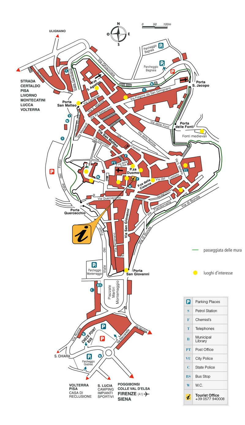large san gimignano maps for free high resolution and