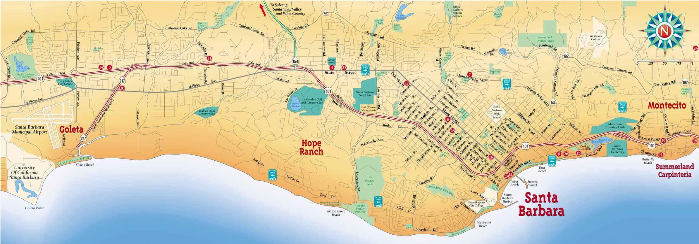 Santa Barbara Map Large Santa Barbara Maps for Free Download and Print   High  Santa Barbara Map