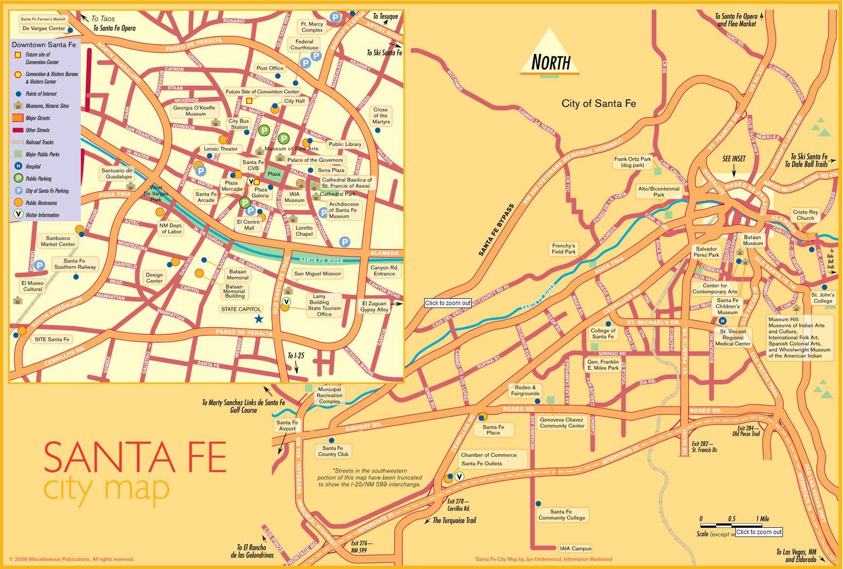 Santa Fe Map Large Santa Fe Maps for Free Download and Print | High Resolution  Santa Fe Map