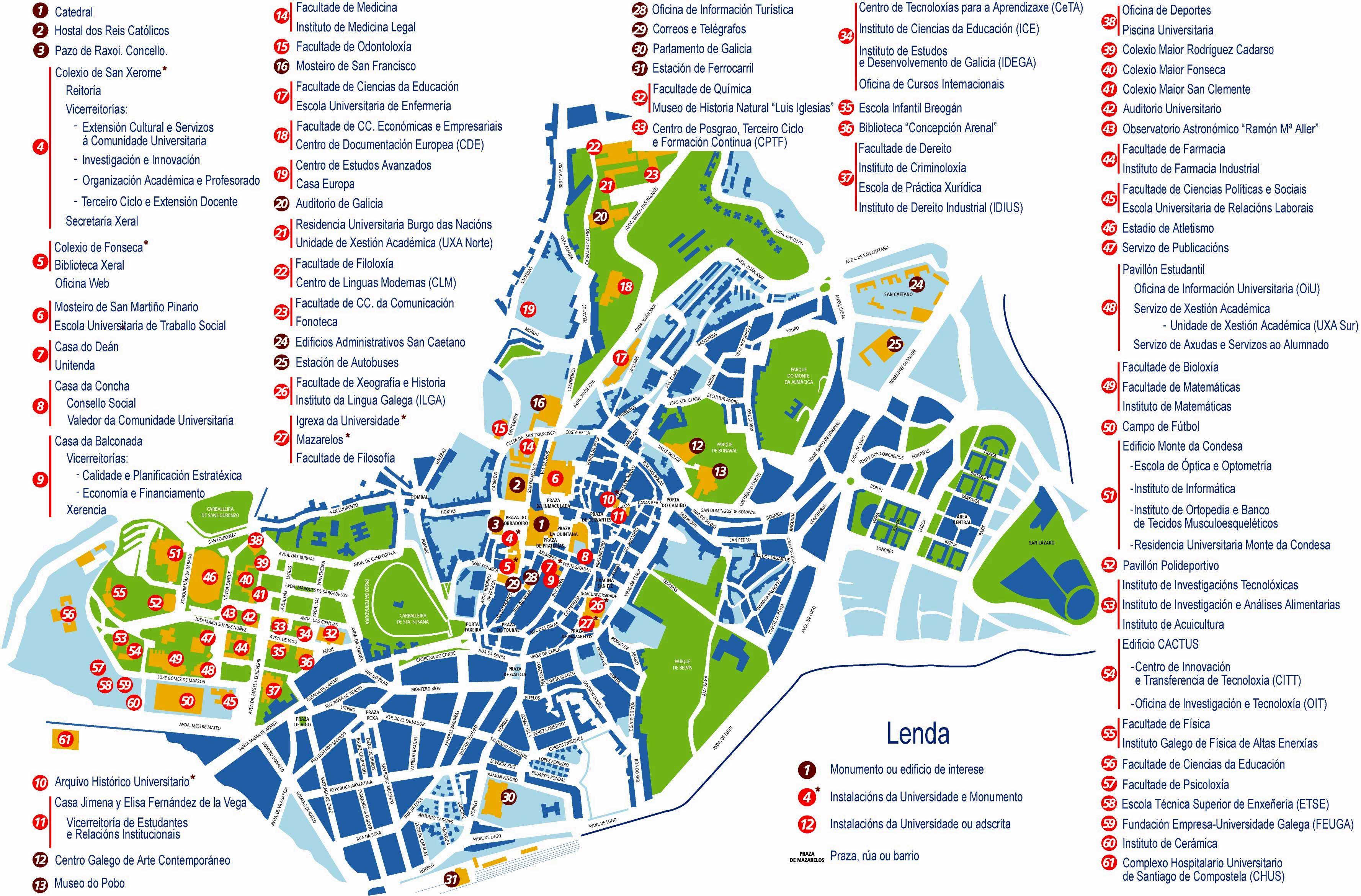 santiago de compostela mapa Santiago de Compostela   plan de la ciudad | Mapas imprimidos de  santiago de compostela mapa