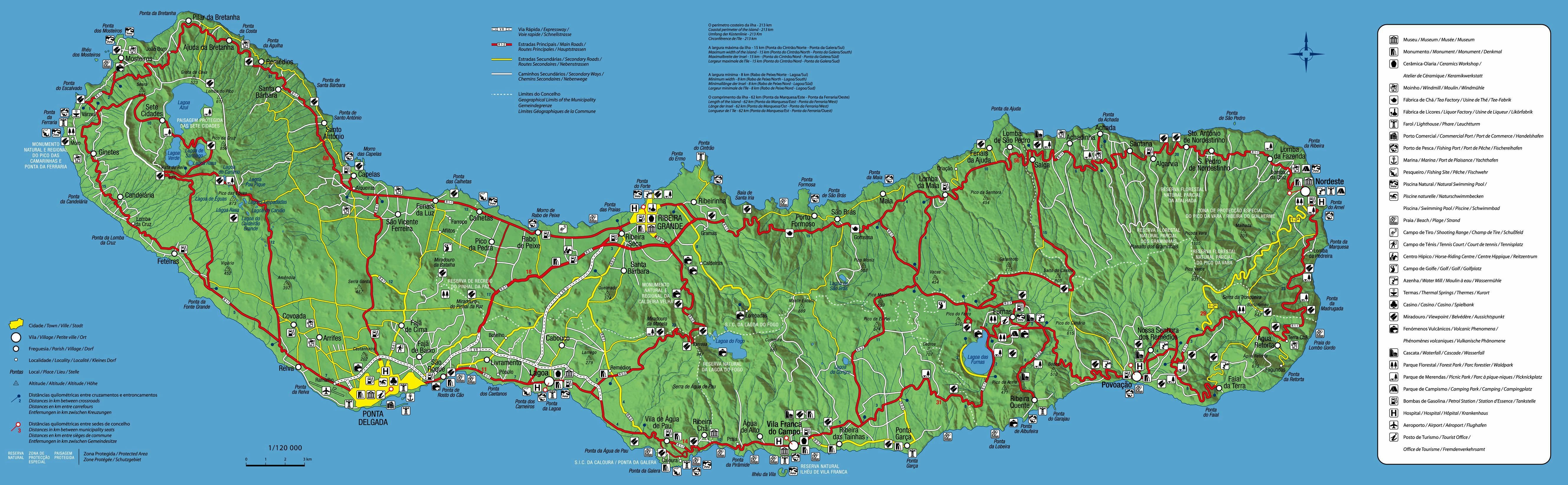 mapa sao miguel Large Sao Miguel Island Maps for Free Download and Print | High  mapa sao miguel