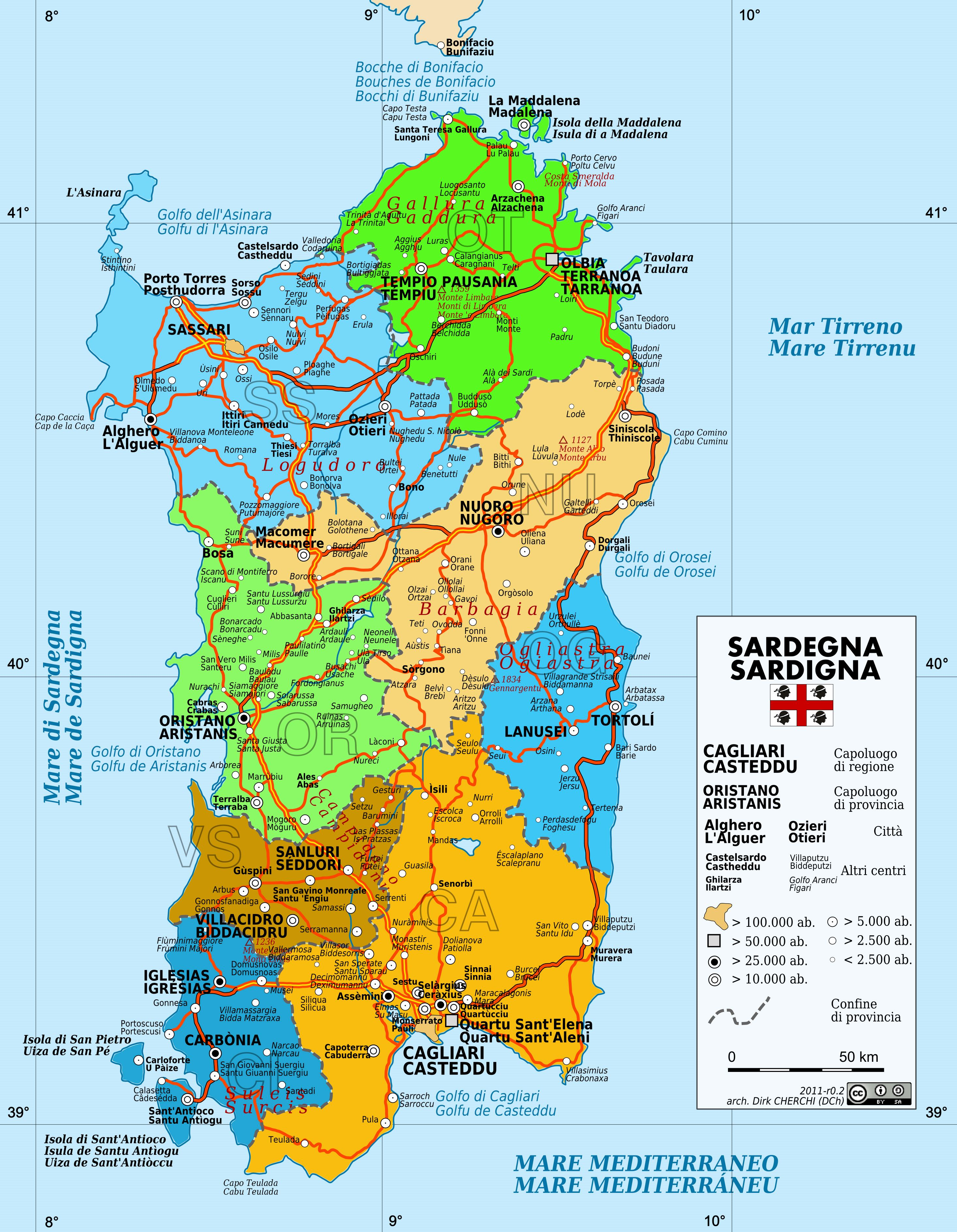 Large Sardinia Maps for Free Download and Print   High Resolution ...
