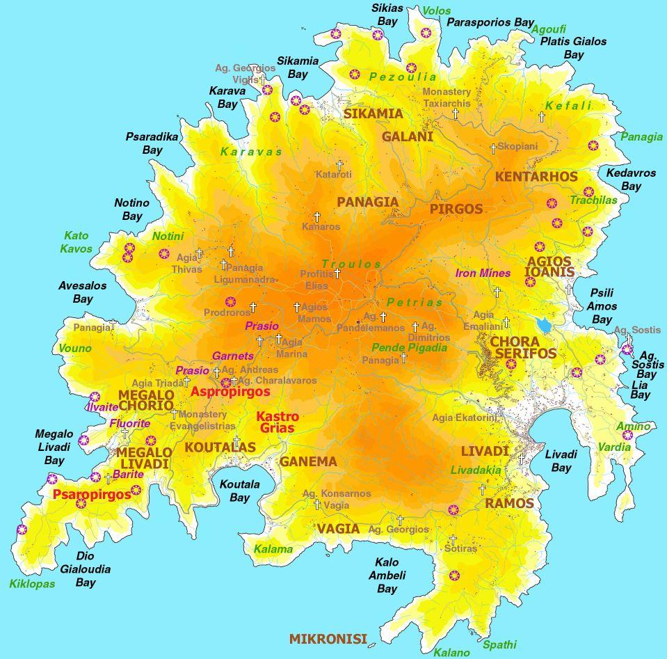 Serifos  plan de la ciudad  Mapas imprimidos de Serifos Grecia
