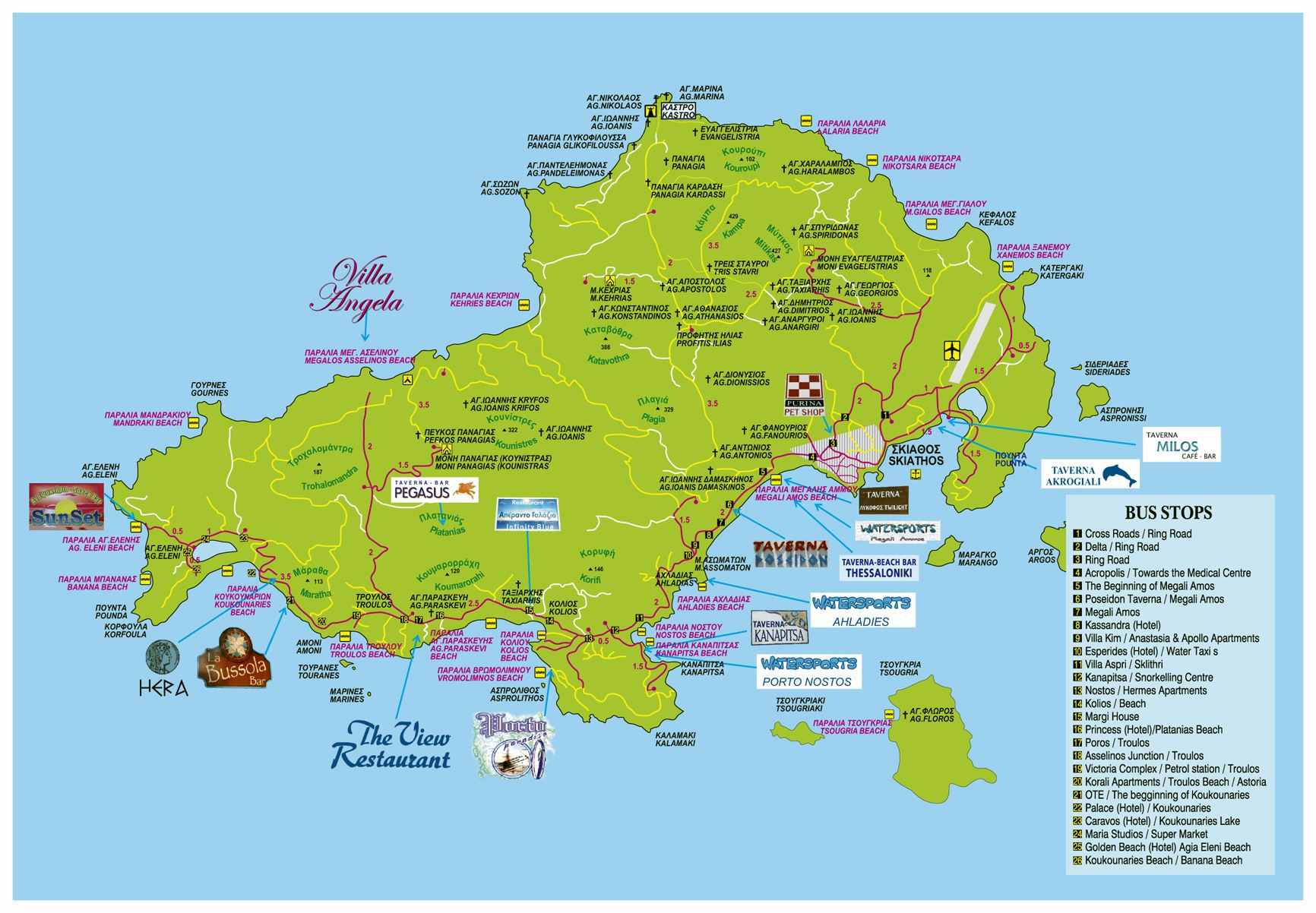 Map Of Skiathos Large Skiathos Island Maps for Free Download and Print | High