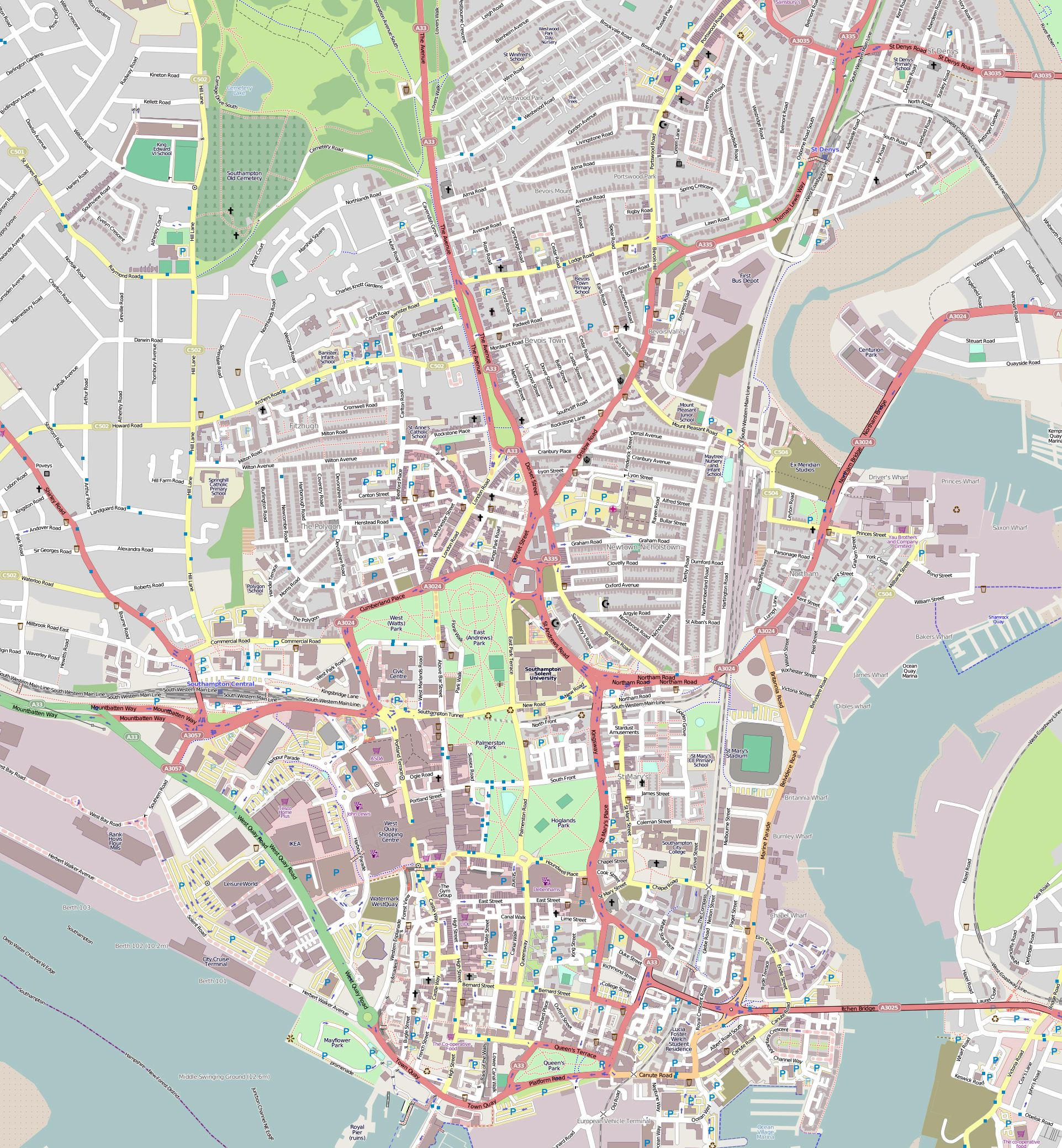 Large Southampton Maps for Free Download and Print HighResolution