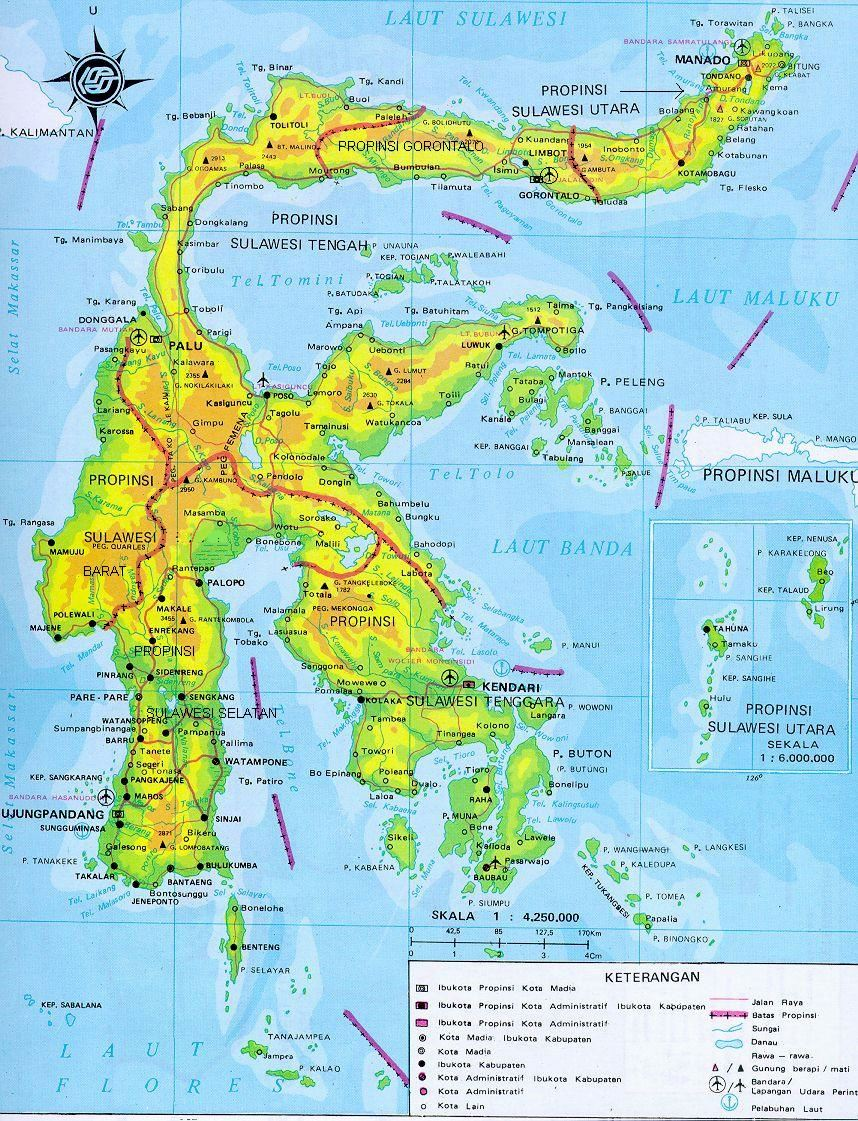 large sulawesi island maps for free download and print