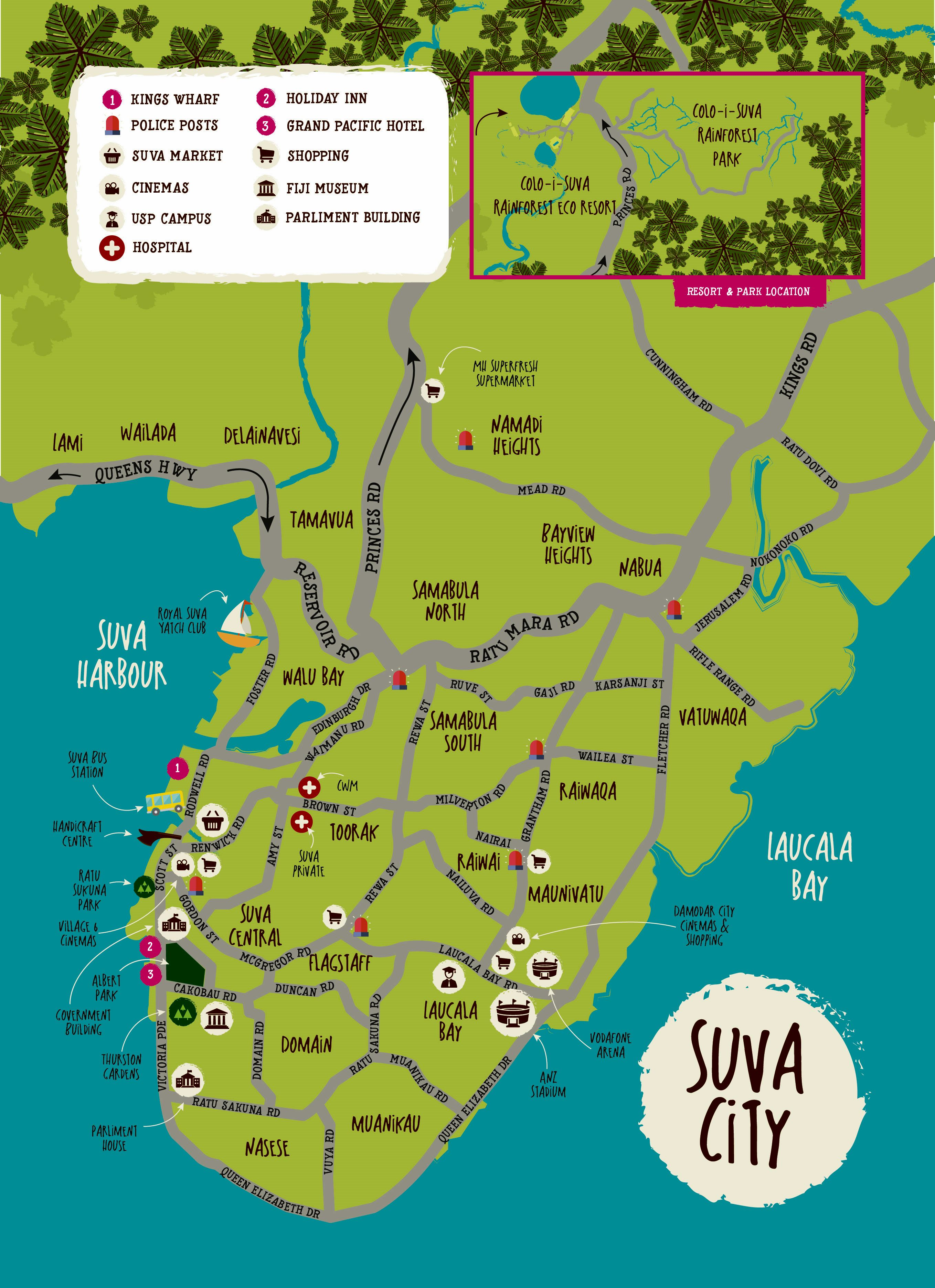 Large Suva Maps for Free Download and Print HighResolution and