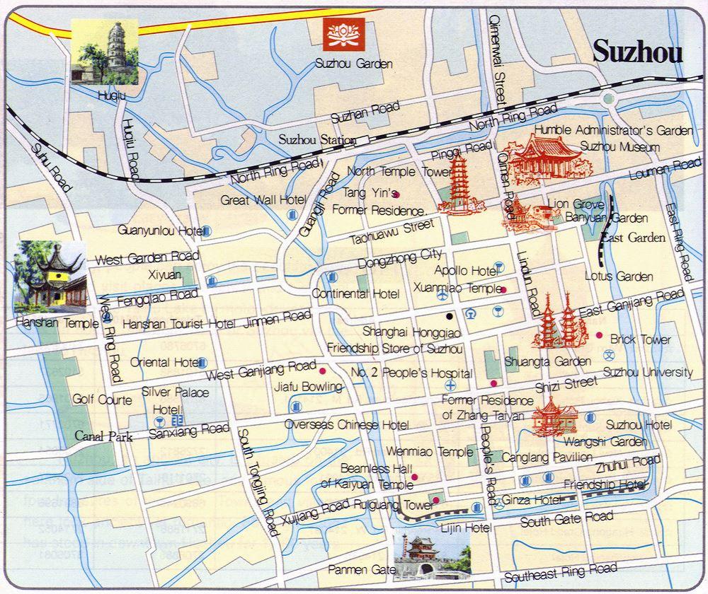 Stadtplan Von Suzhou Detaillierte Gedruckte Karten Von
