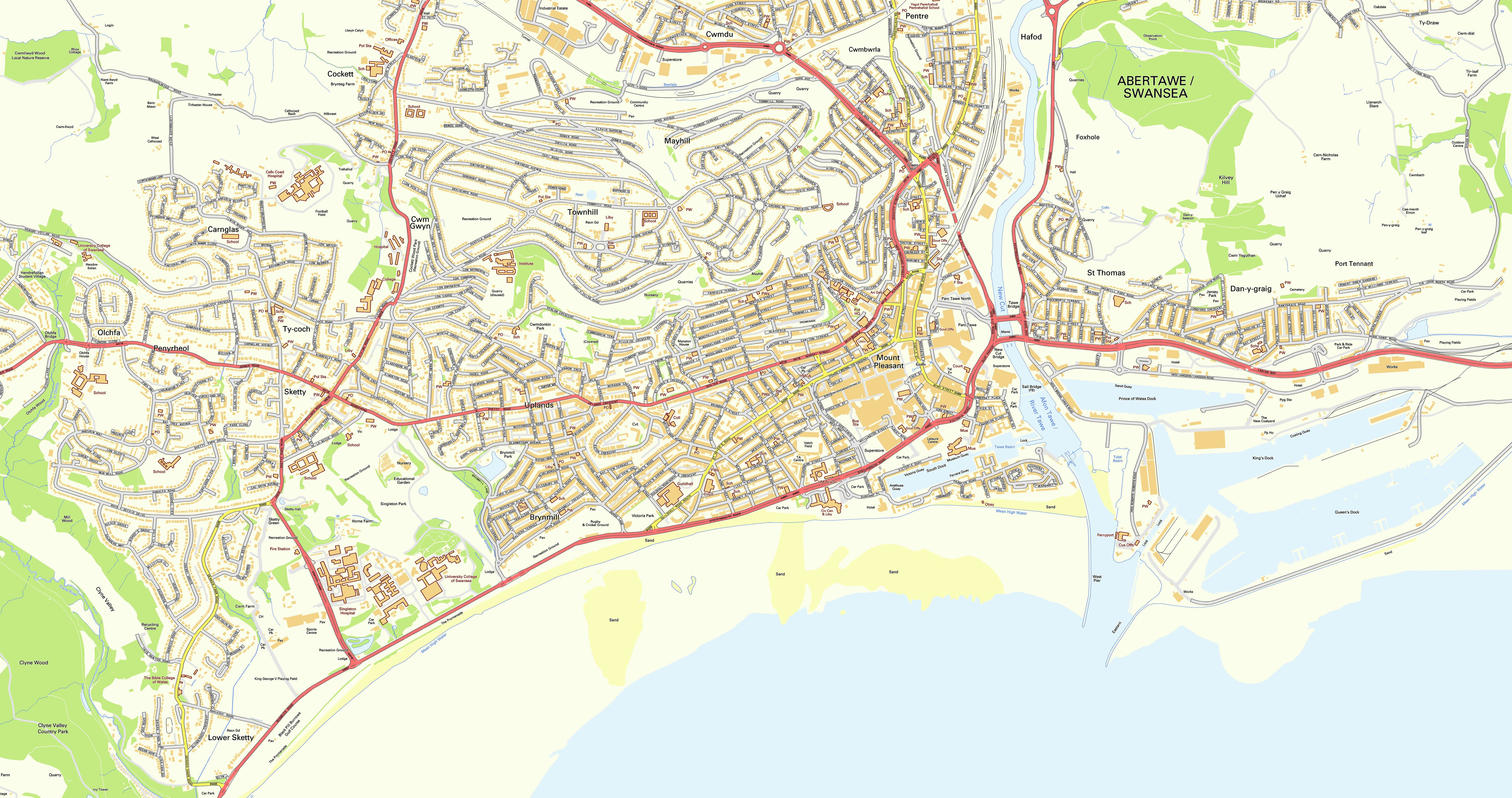 Large Swansea Maps for Free Download and Print HighResolution and